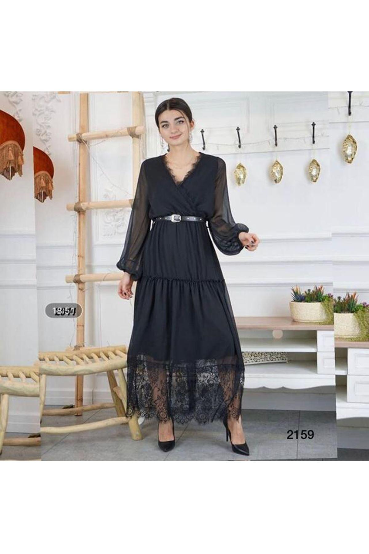 Etek Uçları Dantel Midiboy Elbise - SİYAH