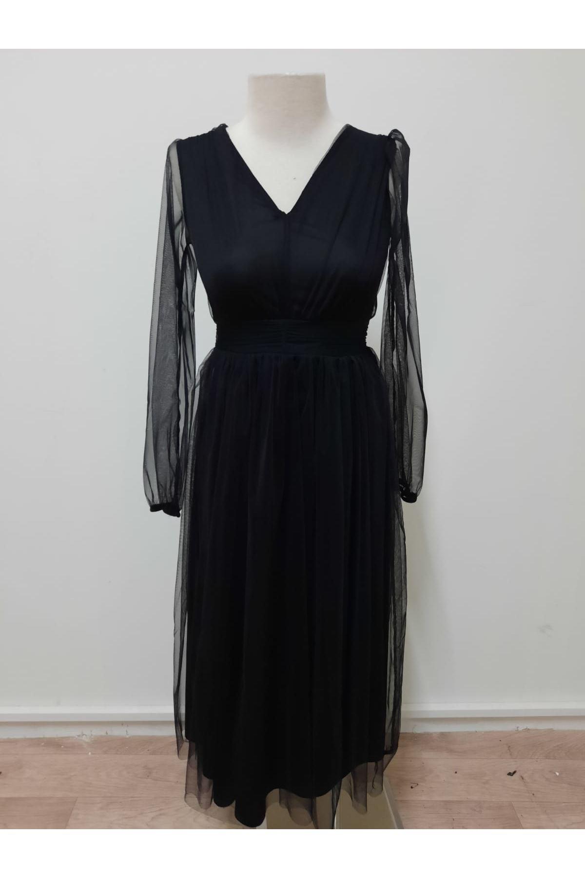V Yaka Organze Tasarım Elbise - siyah