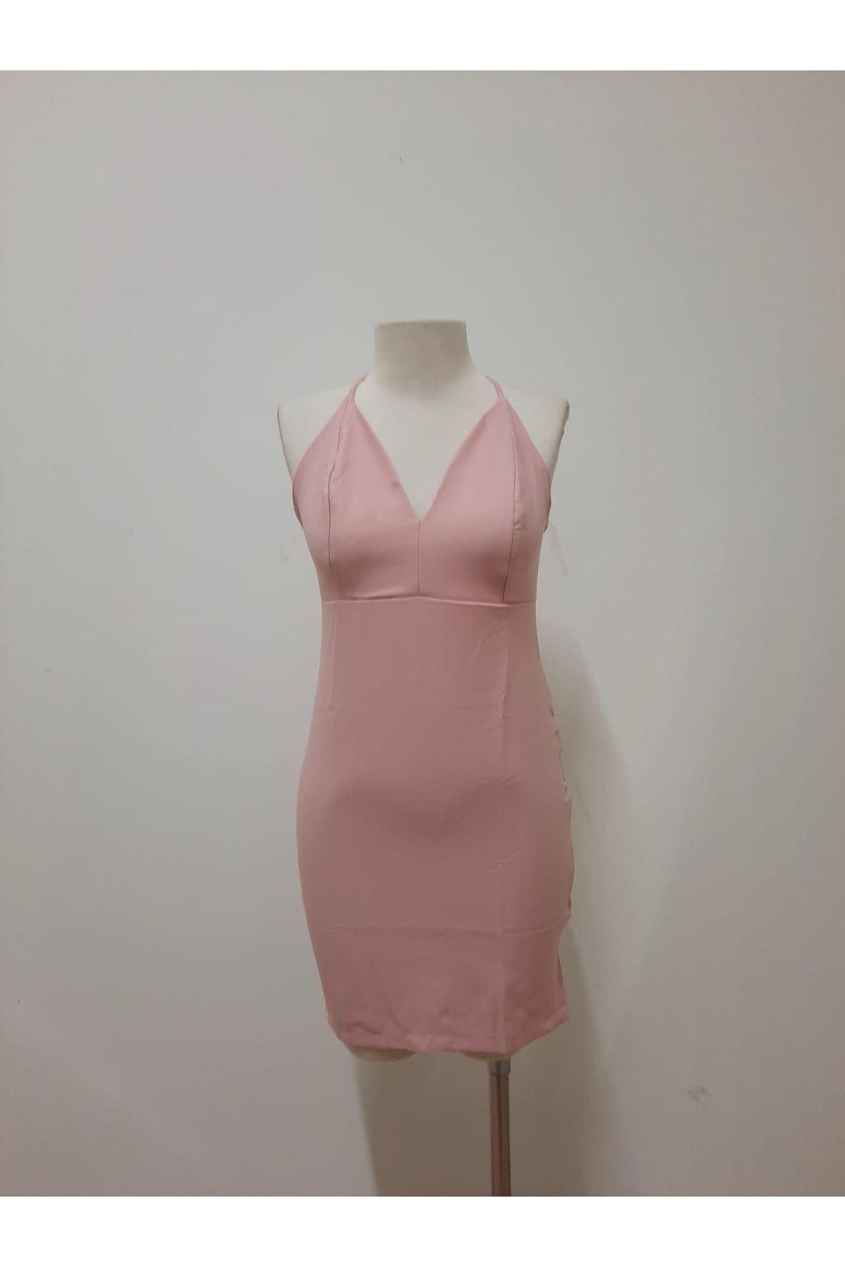 Sırt Çapraz Detaylı Mini Elbise - PUDRA