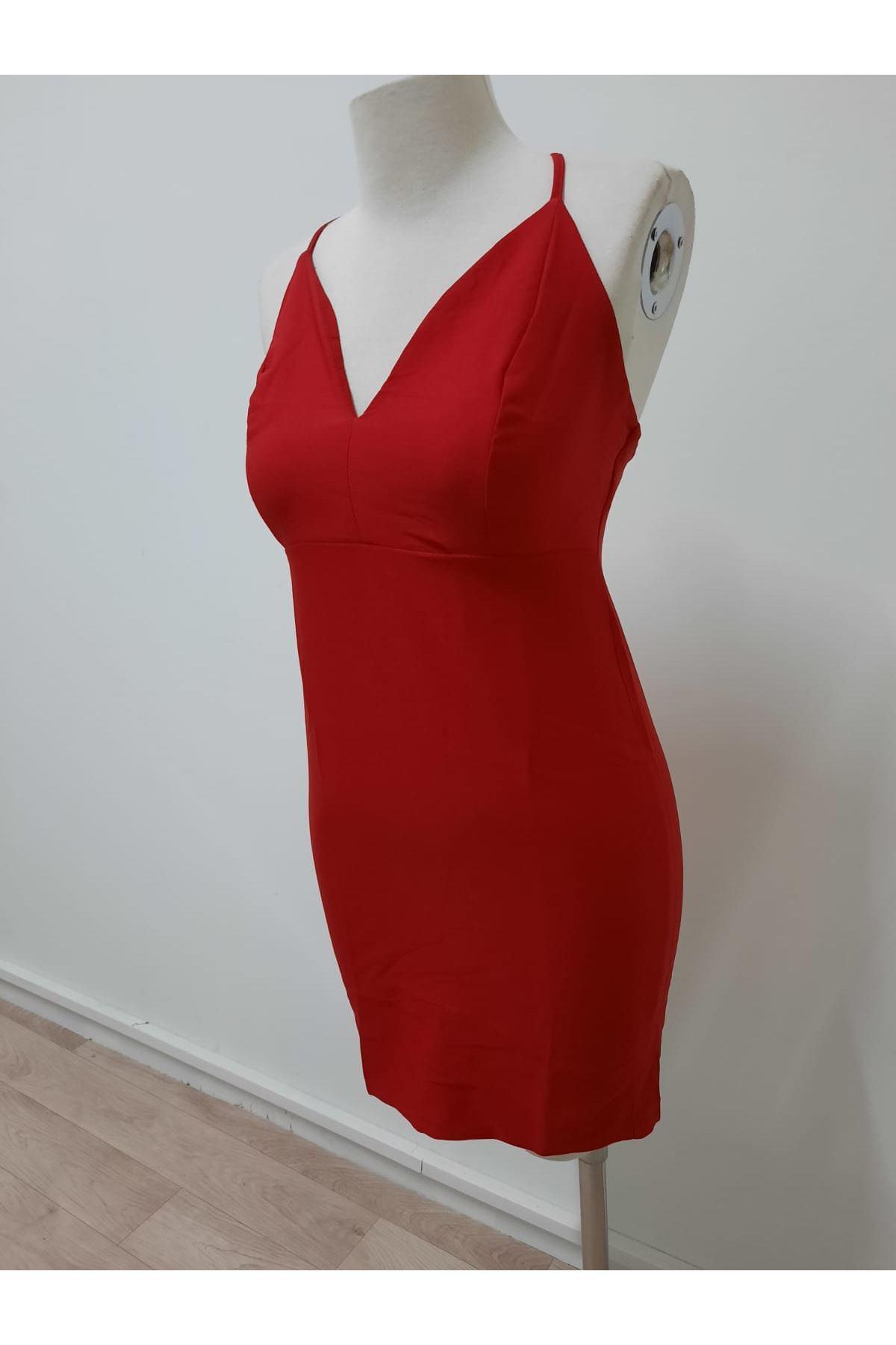 Sırt Çapraz Detaylı Mini Elbise - KIRMIZI