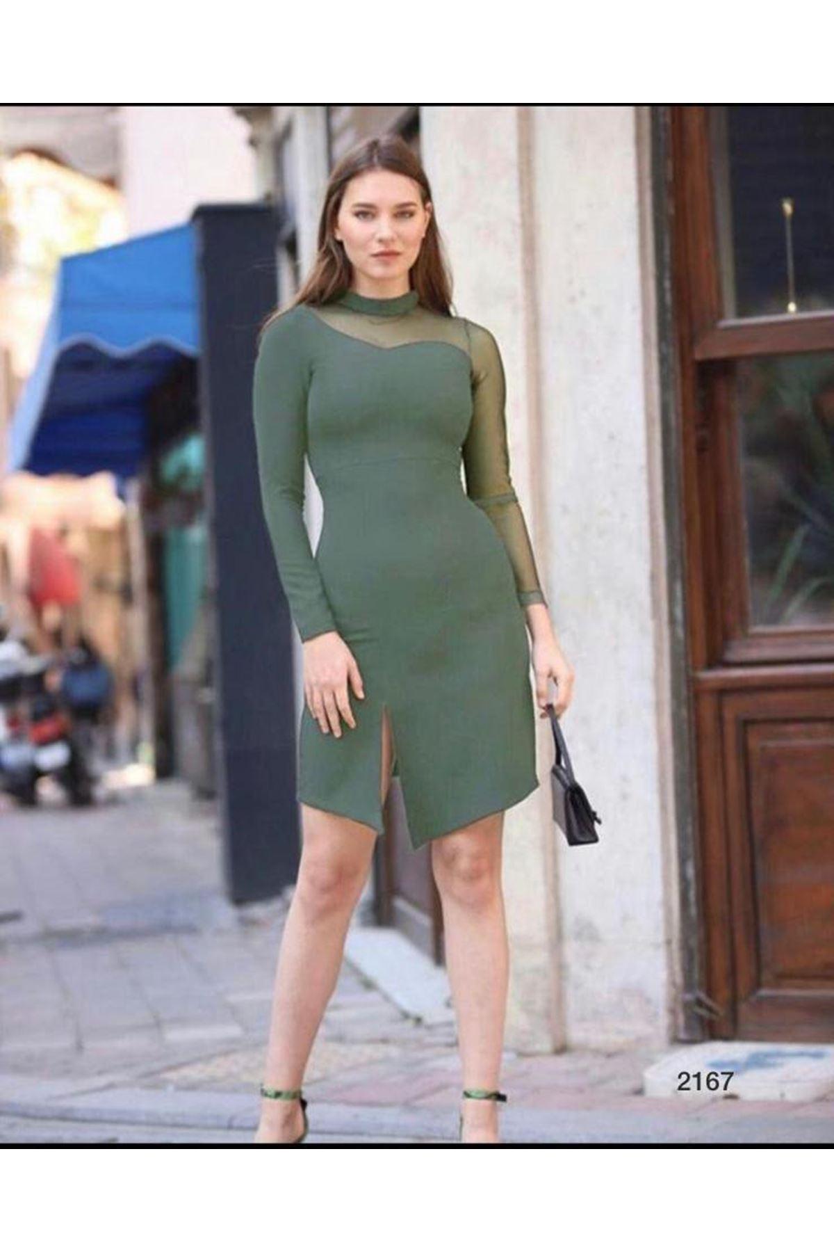 Tek Kol Tül Tasarım Elbise - Haki