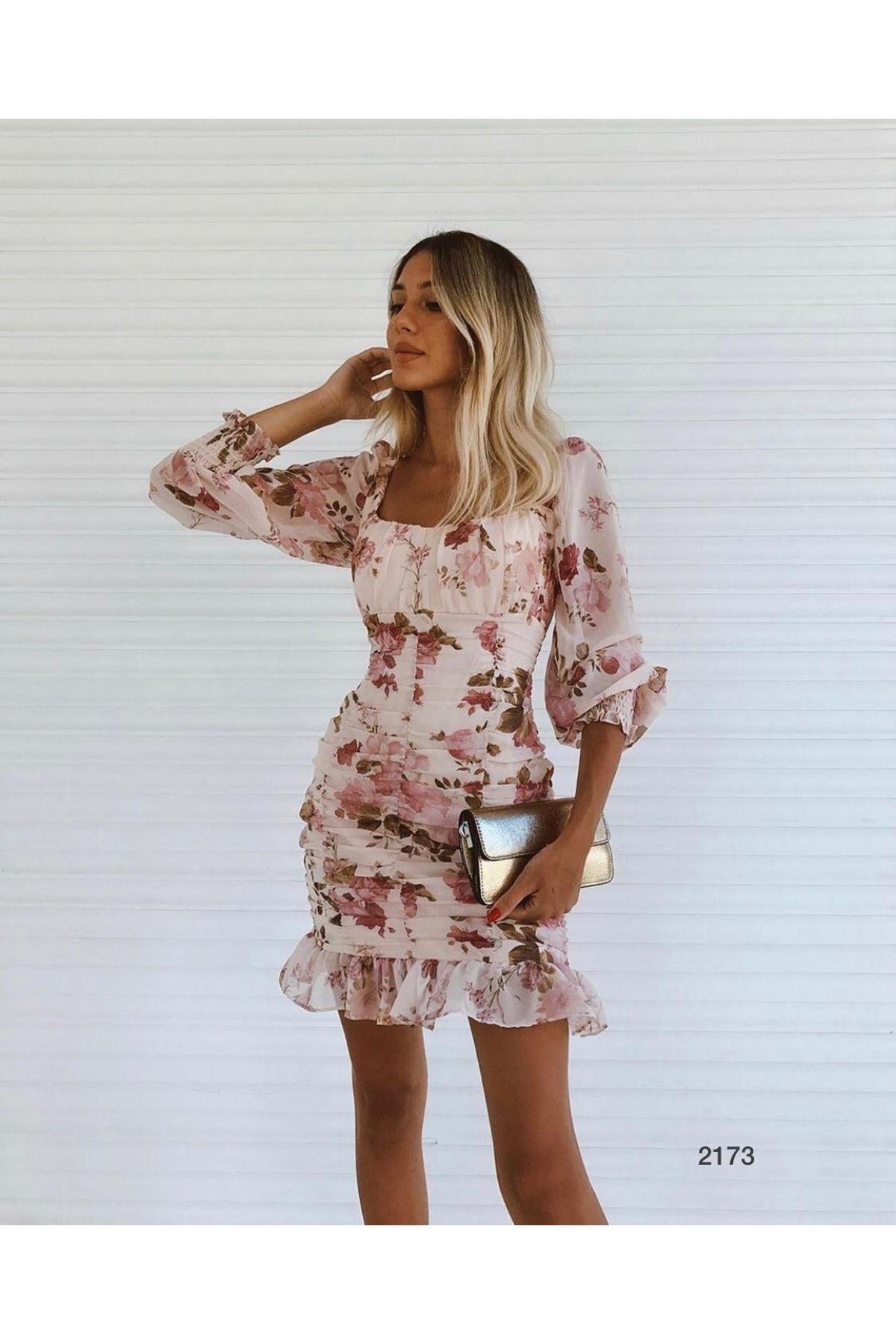 Etek Ucu Fırfır Mini Elbise - Pudra