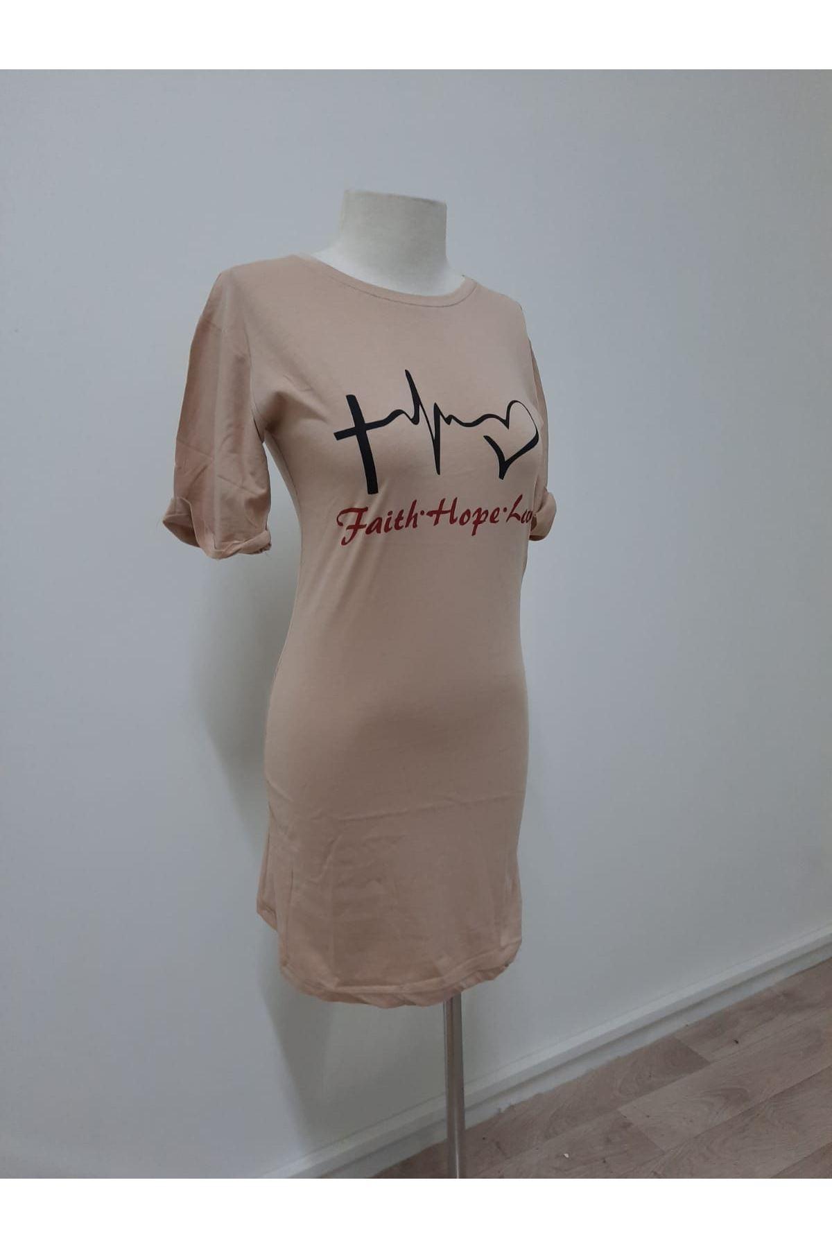 Kalp Ritimi Tunik Elbise - bej