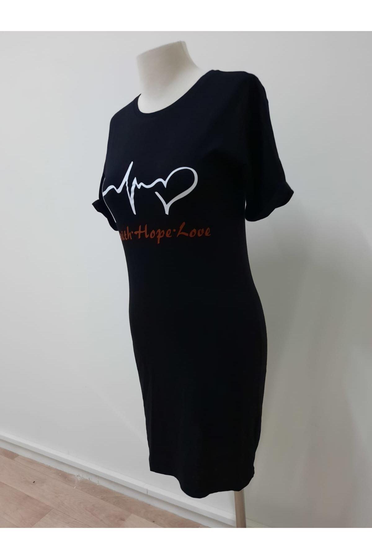 Kalp Ritimi Tunik Elbise - siyah
