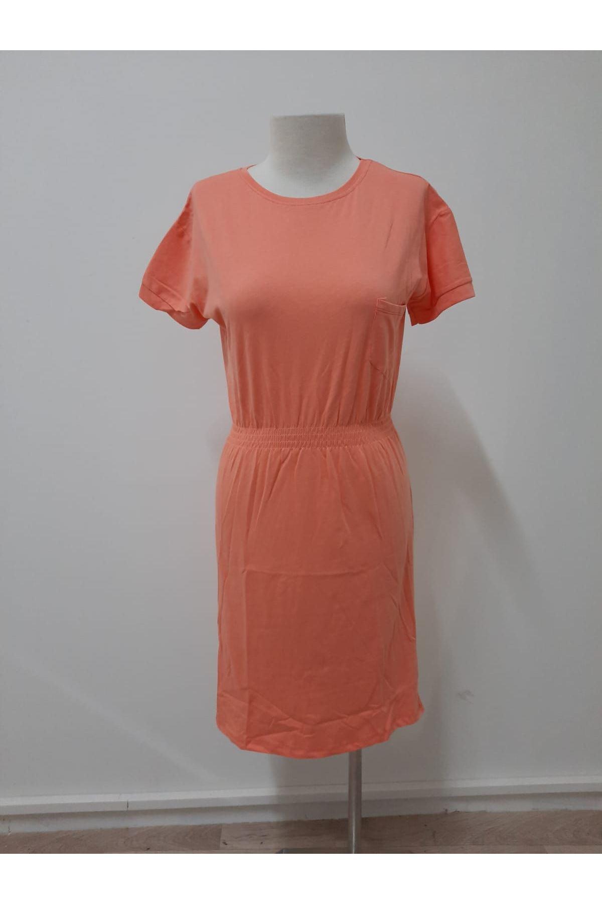 Bel Lastikli Mini Elbise - ORANJ