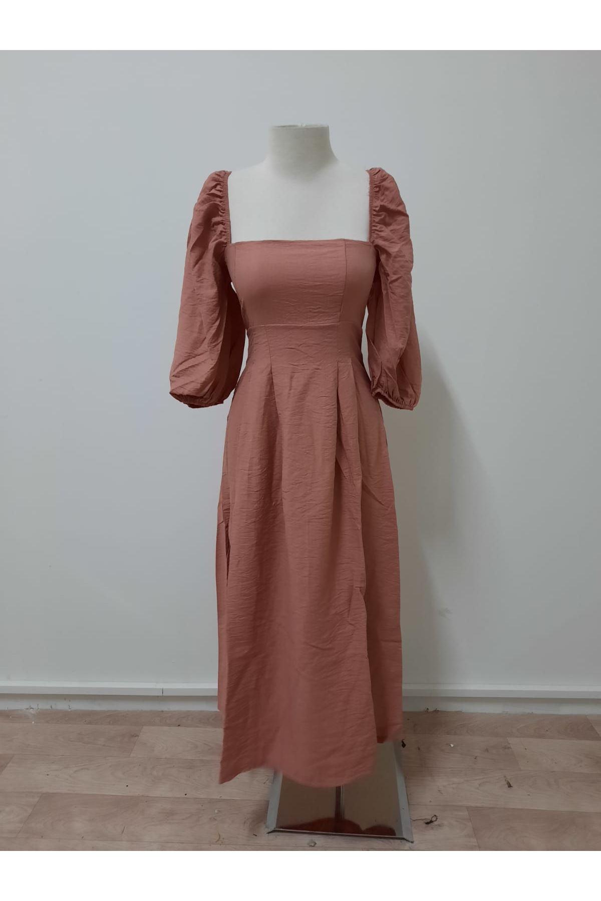 Balon Kol 3 Renk Elbise - pembe