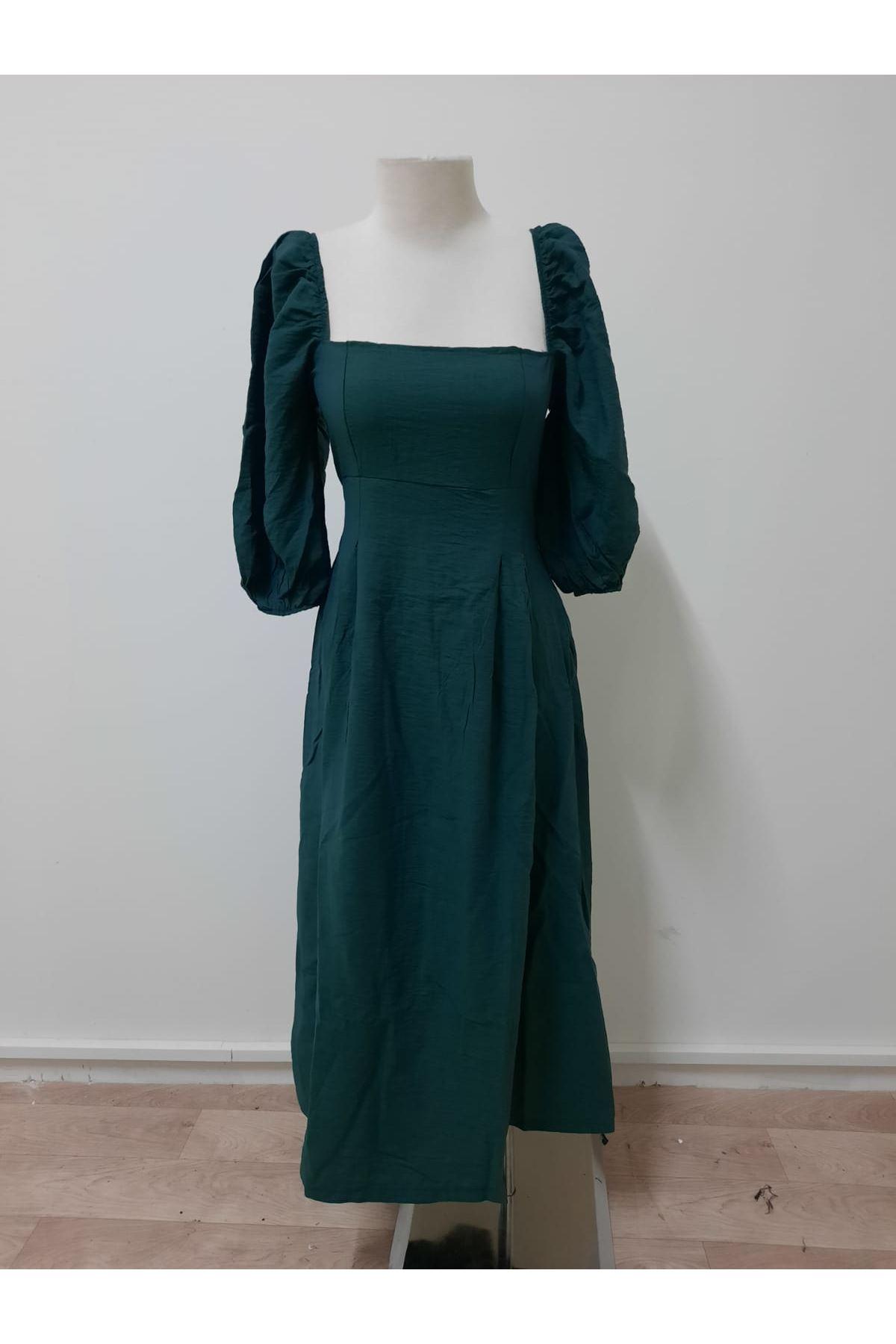 Balon Kol 3 Renk Elbise - yeşil