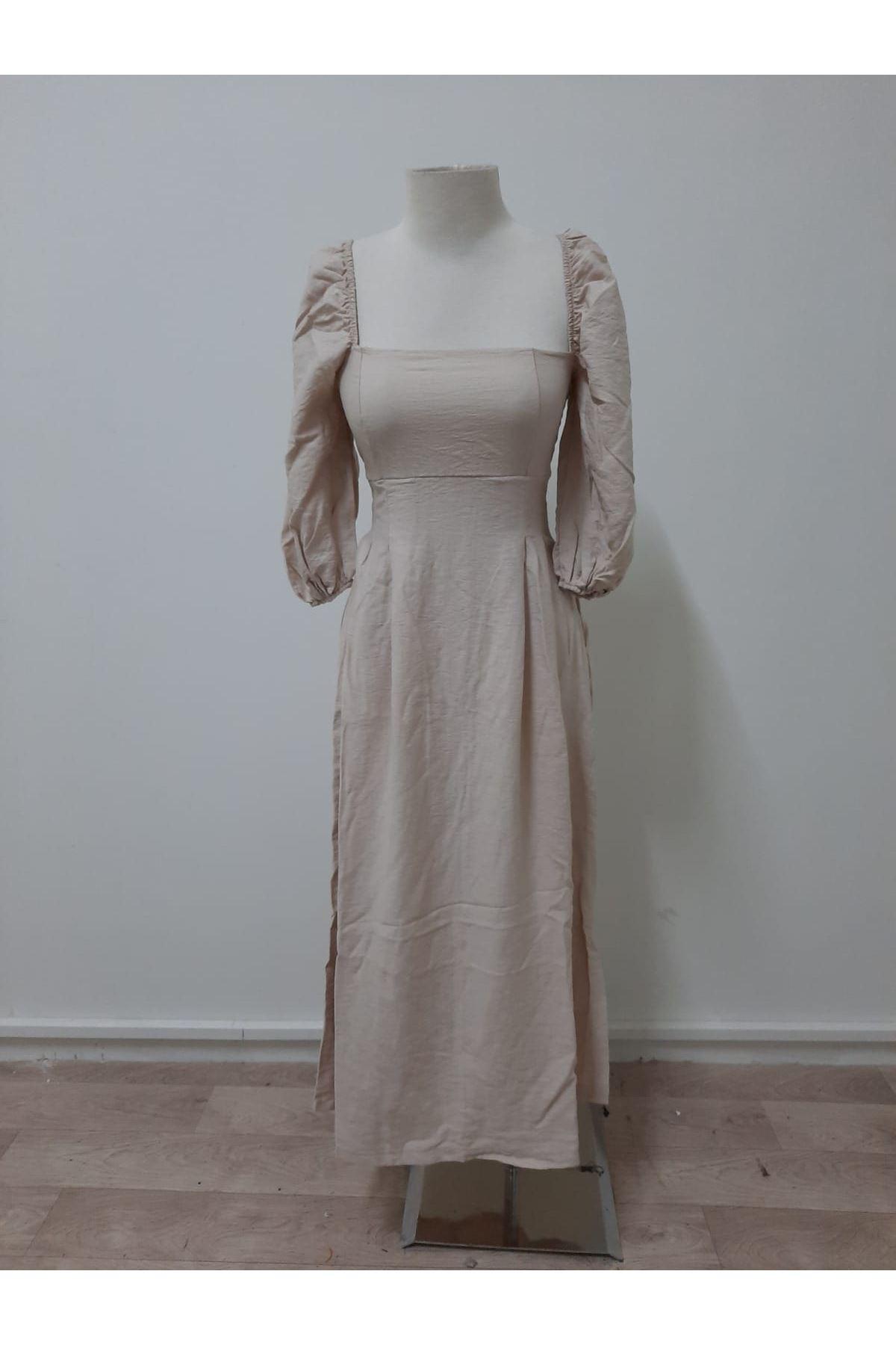 Balon Kol 3 Renk Elbise - bej