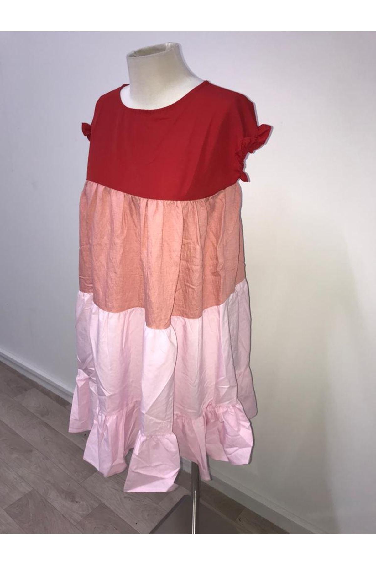 Zara model pliseli elbise KIRMIZI