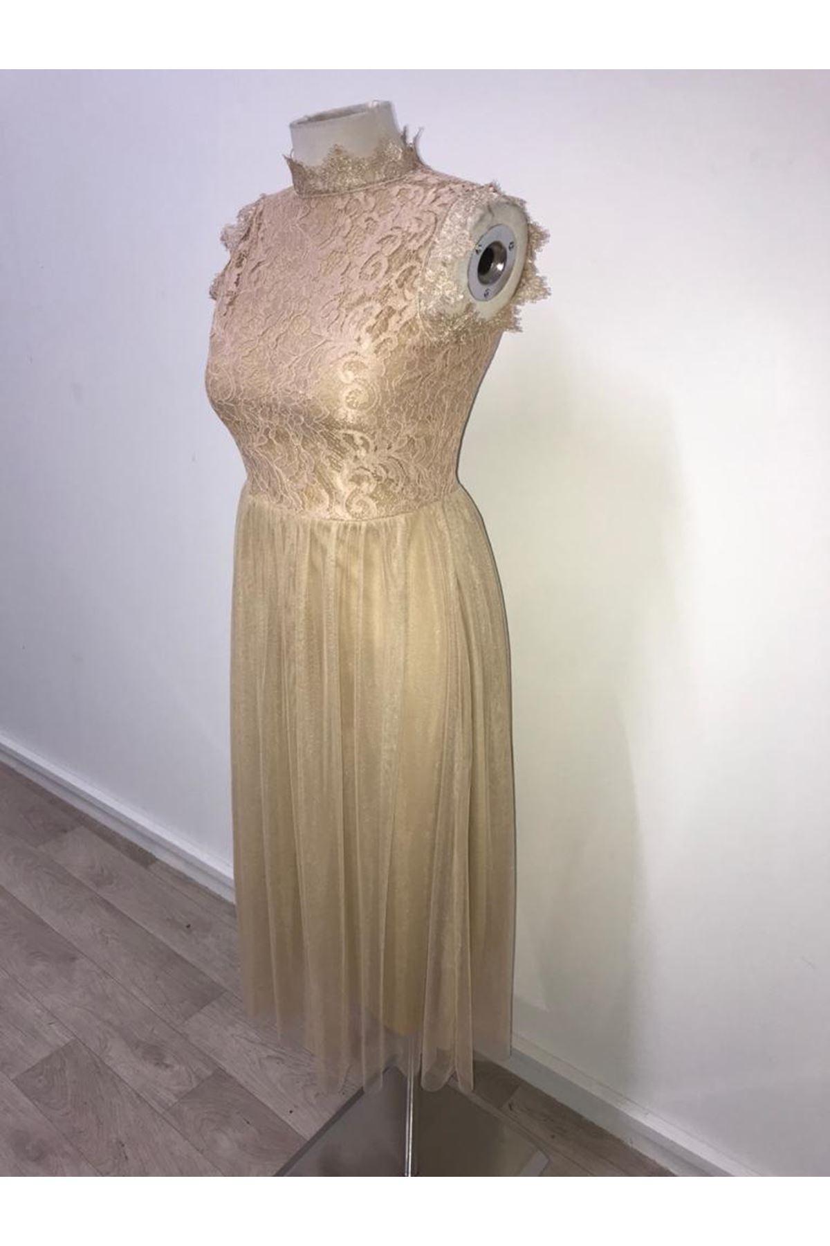 Üst Güpür Dantel Midiboy Elbise - bej
