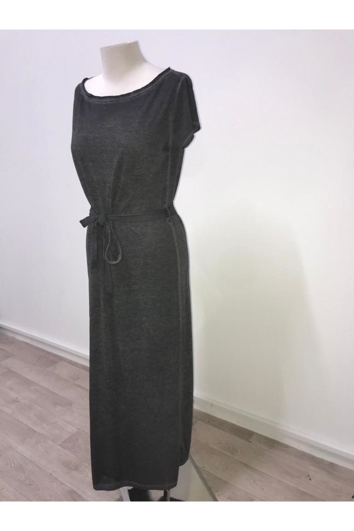 Yıkamalı Penye Elbise - GRİ
