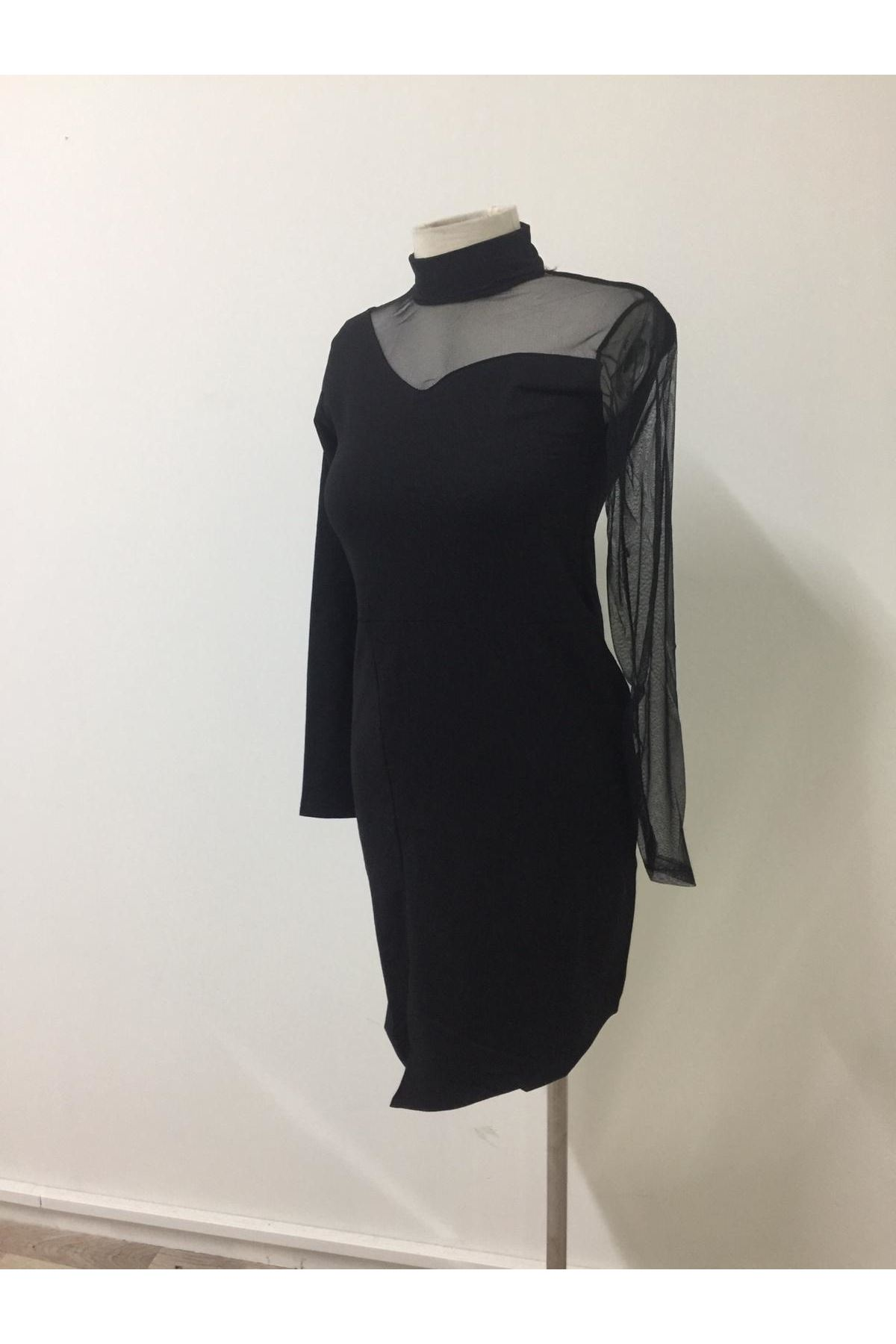 Tek Kol Tül Tasarım Elbise - Siyah