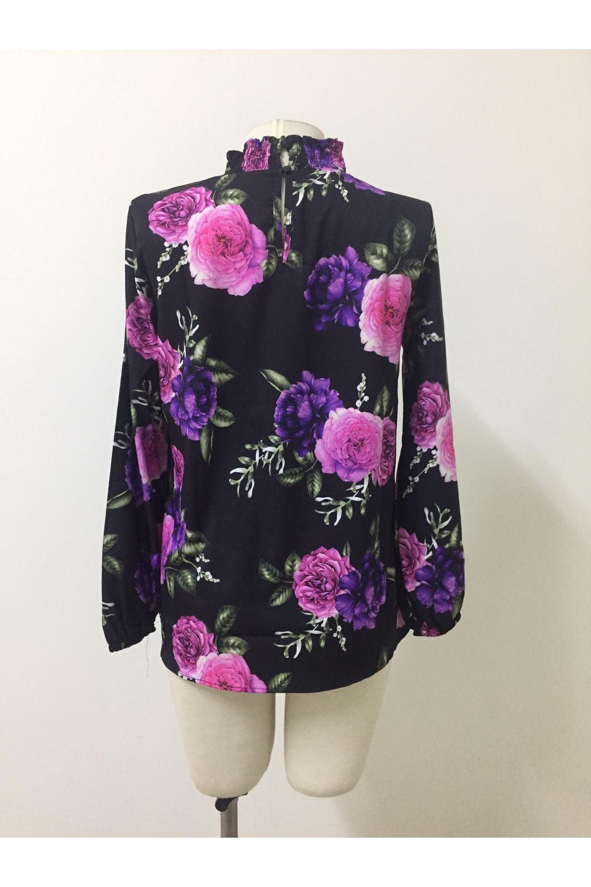Çiçekli Jessica Bluz - siyah