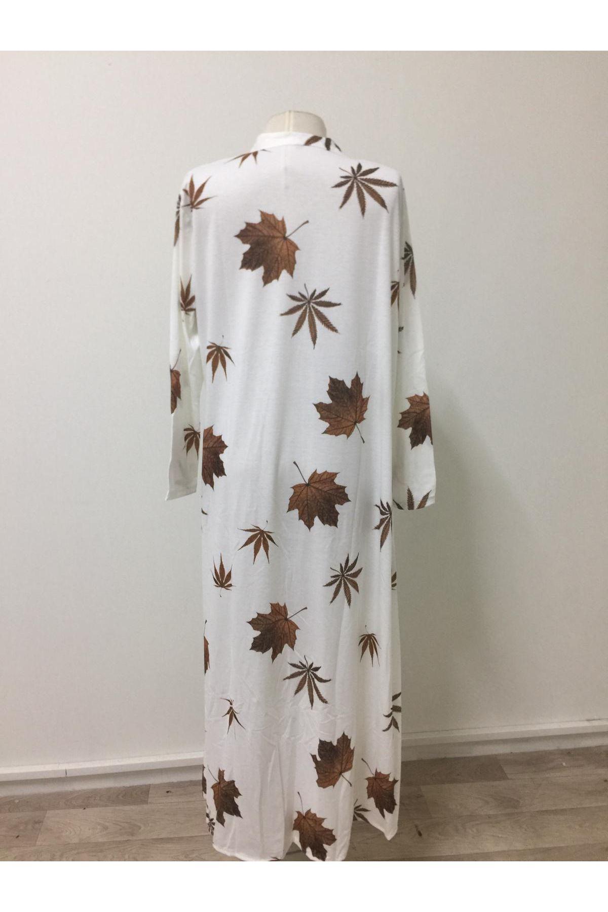 Yaprak Baskı Kimono Gömlek - beyaz