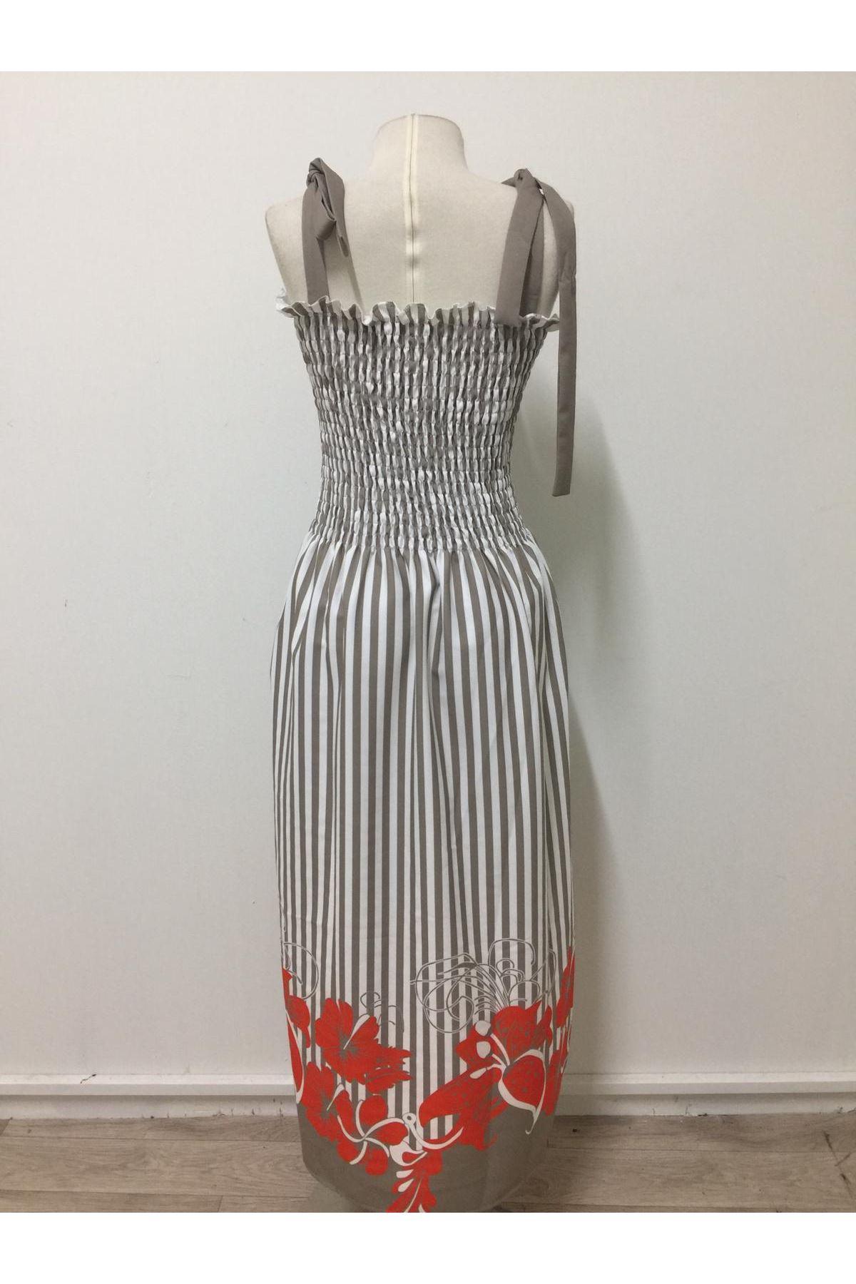 Etek Ucu Çiçekli Elbise - BEJ