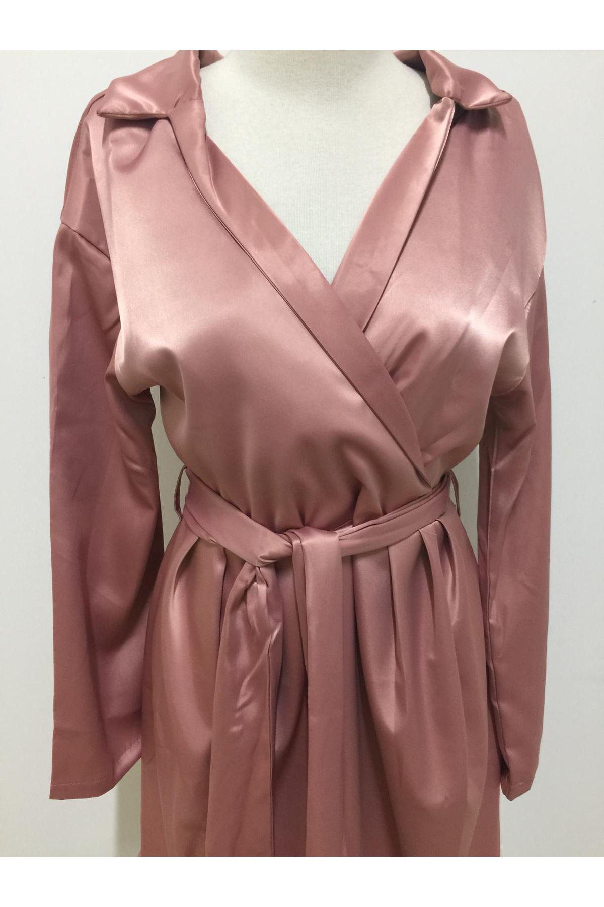 Fashion Düşük Omuz Saten Elbise - PEMBE