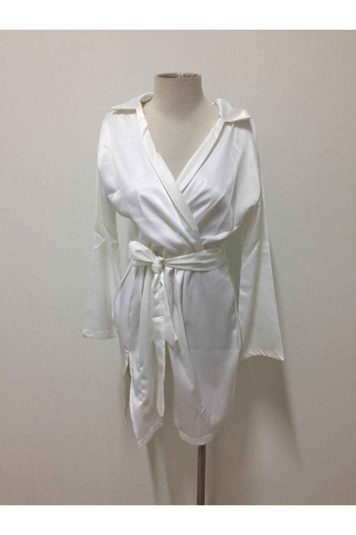 Fashion Düşük Omuz Saten Elbise - BEYAZ