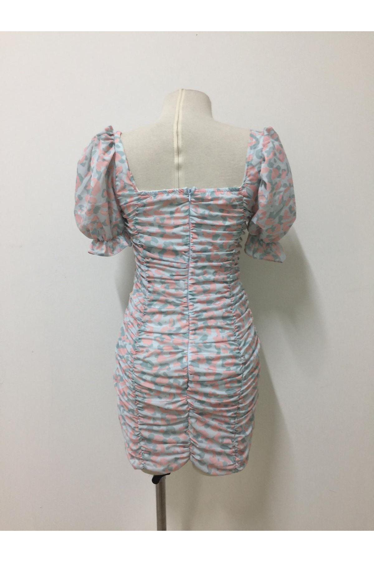 Prenses Omuz Mini Elbise - Multi