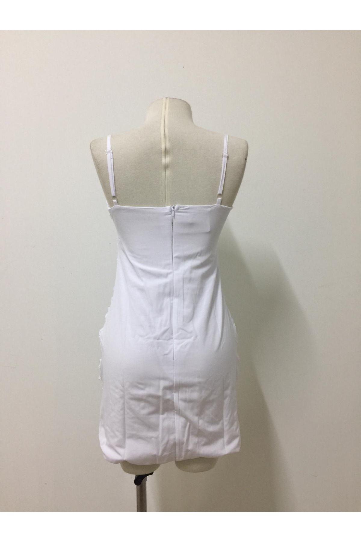 Büzgü Model Mini Elbise - Beyaz
