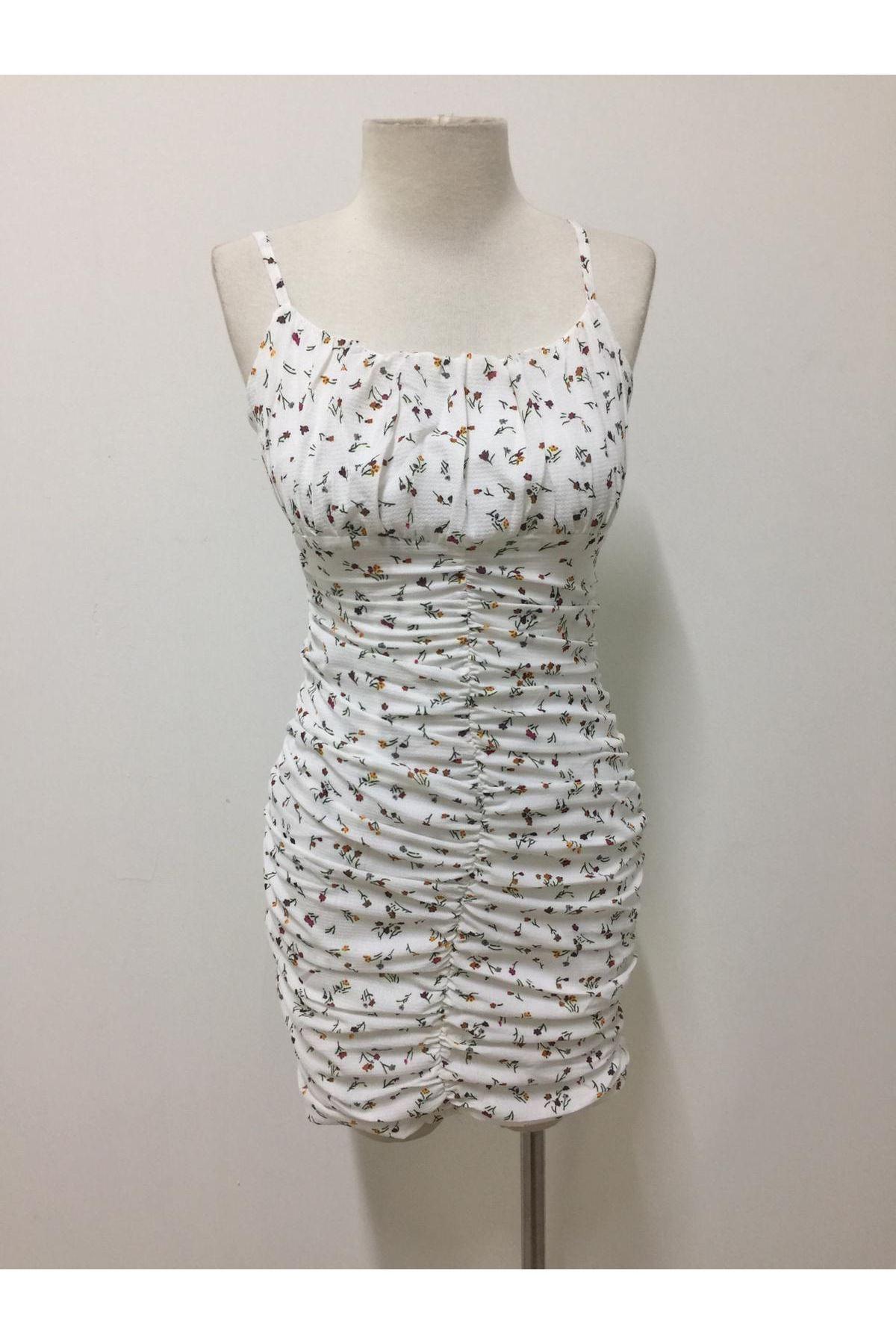 İnce Askılı Şık Mini Elbise - Beyaz