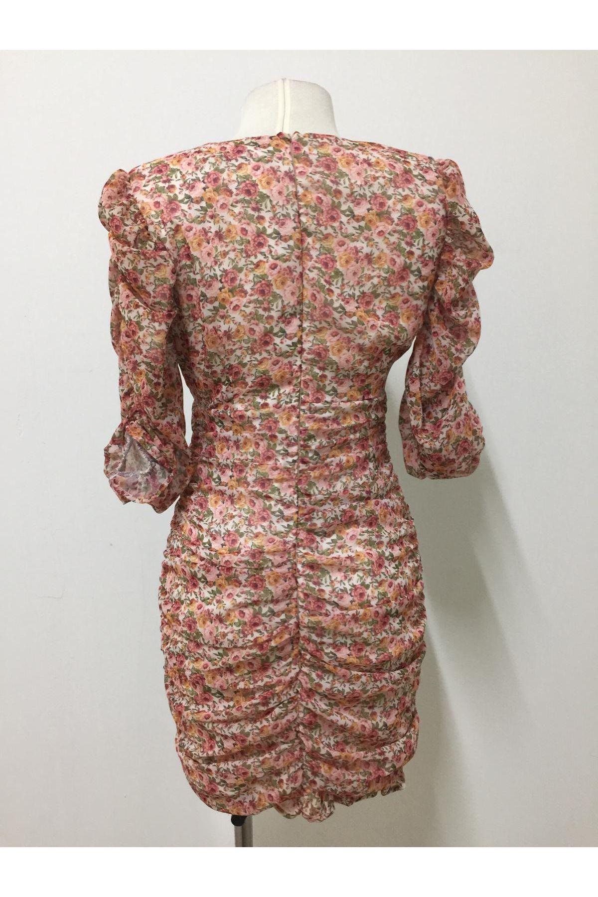 Çıtır Çiçekli Mini Elbise - Multi