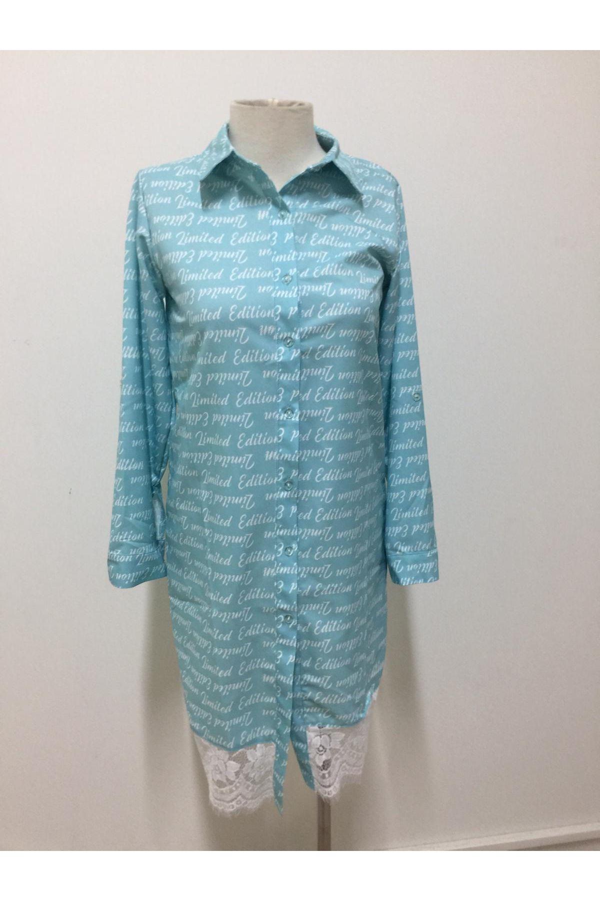Dantel Detaylı Gömlek Elbise - mint