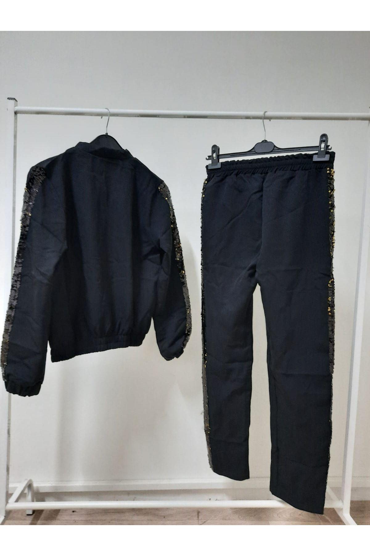Pul Şeritli İkili Takım- siyah