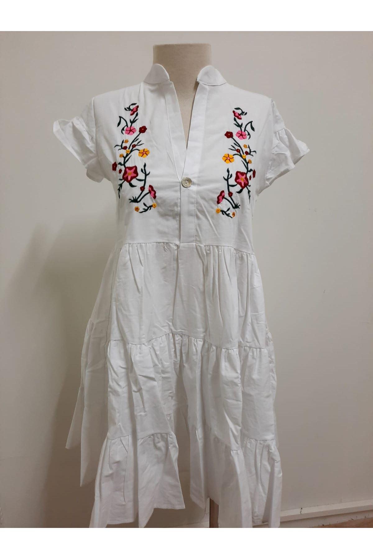 Önü Nakış Kol Fırfır Elbise - BEYAZ