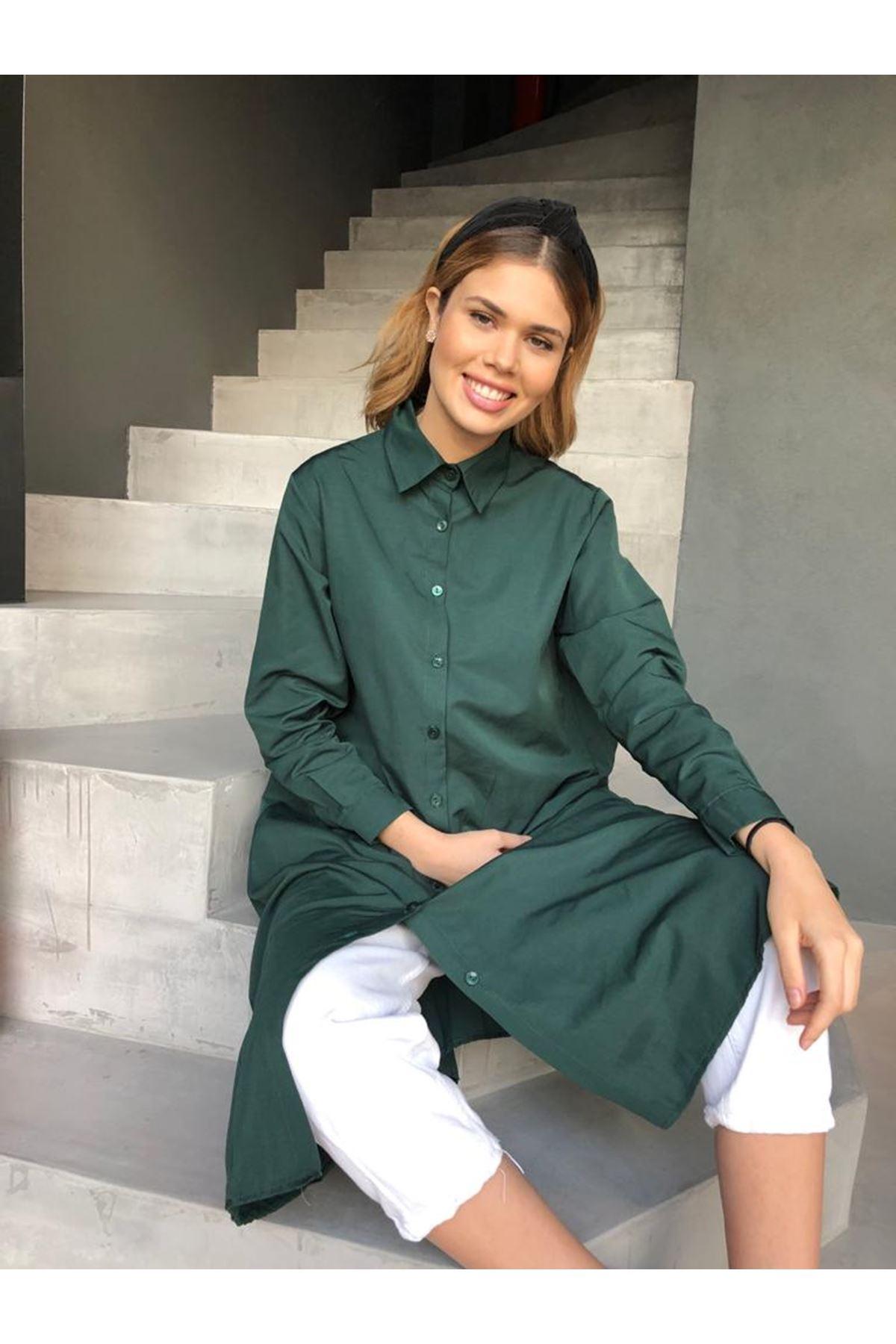Maxi Gömlek Elbise  - Yeşil