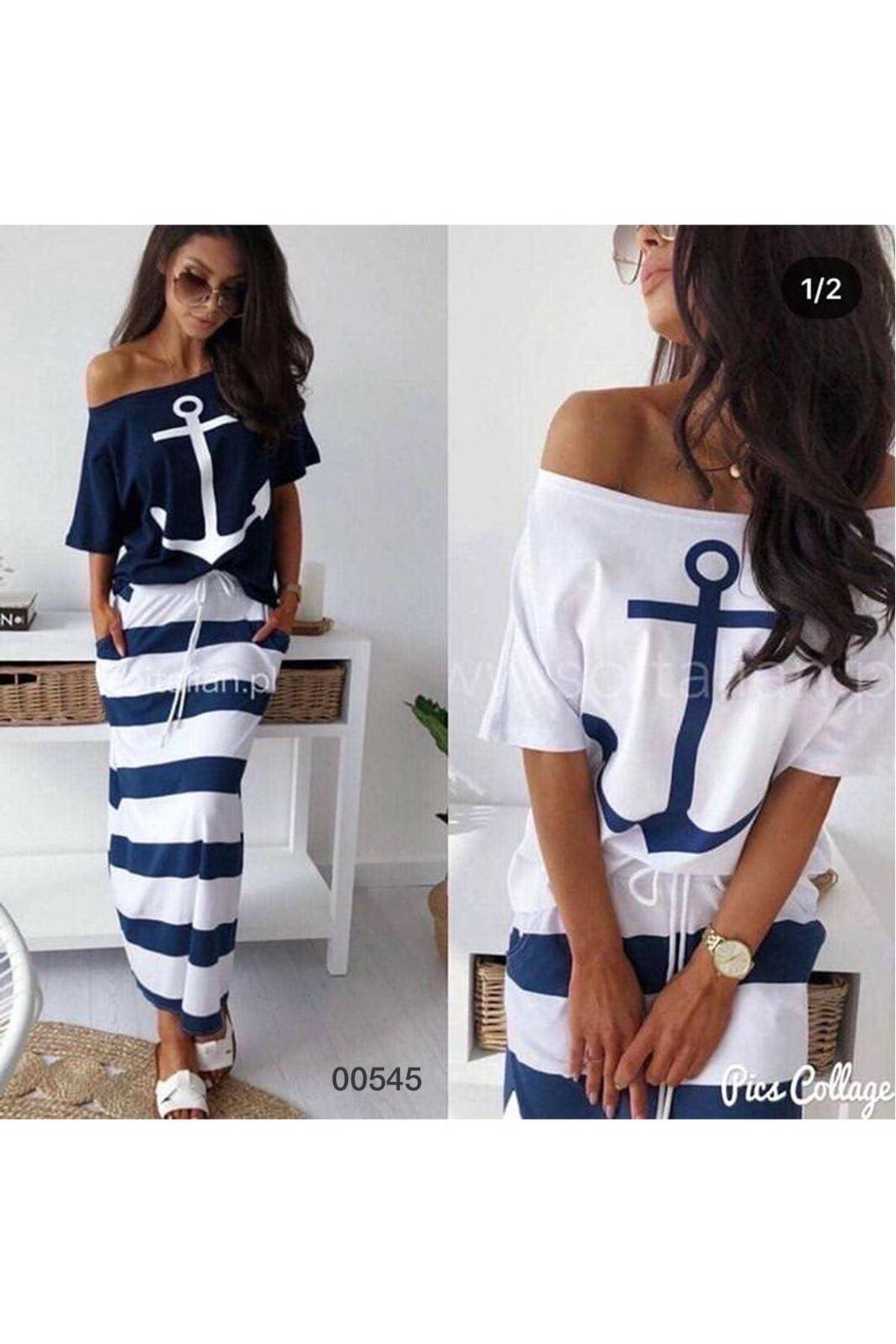 Çapa Model Bağcıklı elbise - BEYAZ