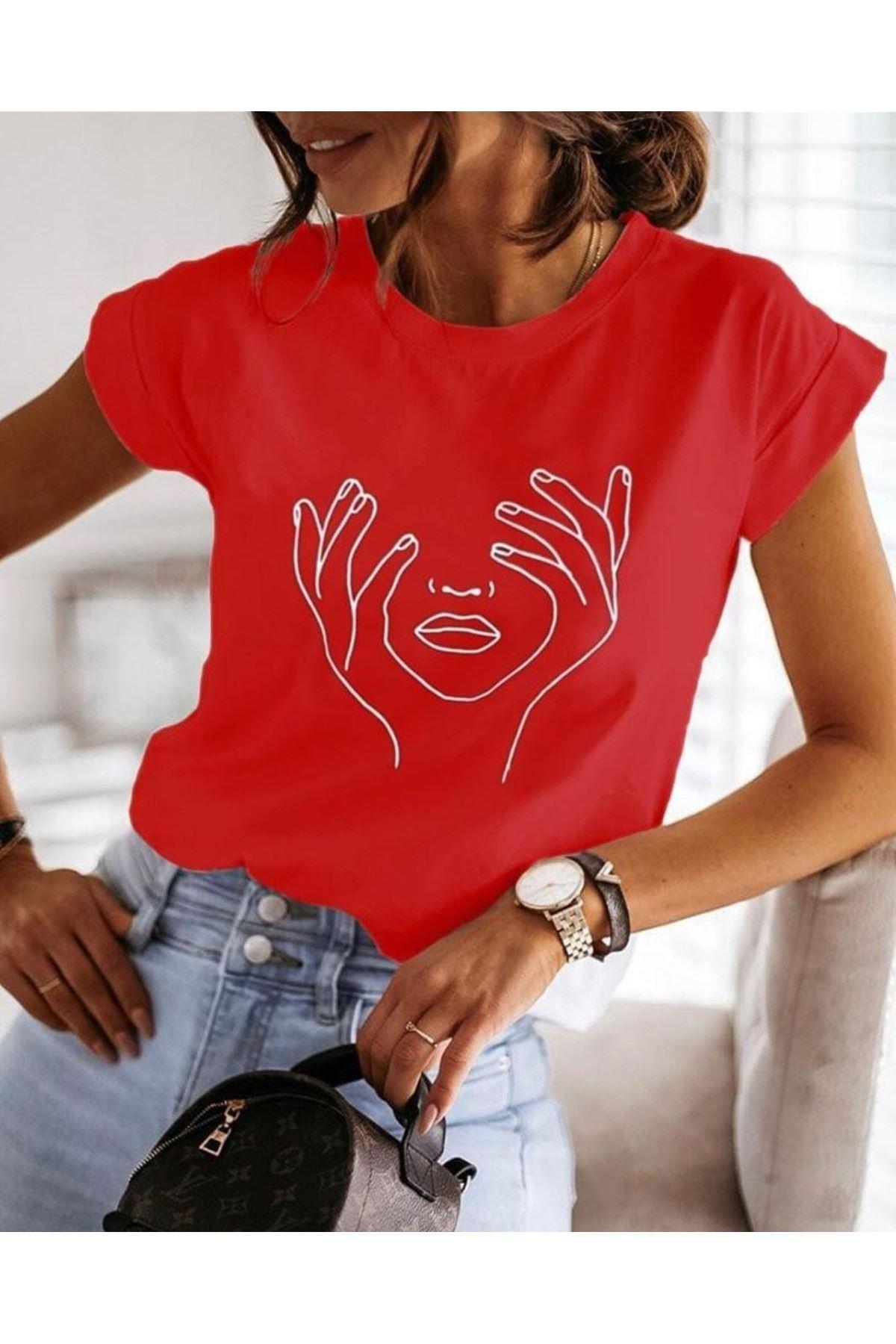 Silüet Baskı Tshirt - KIRMIZI