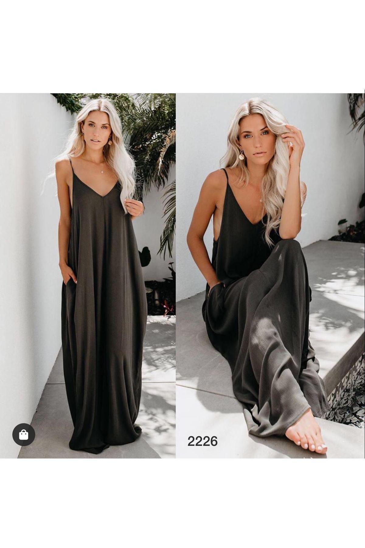 İnce Askı Salaş Elbise - KAHVE