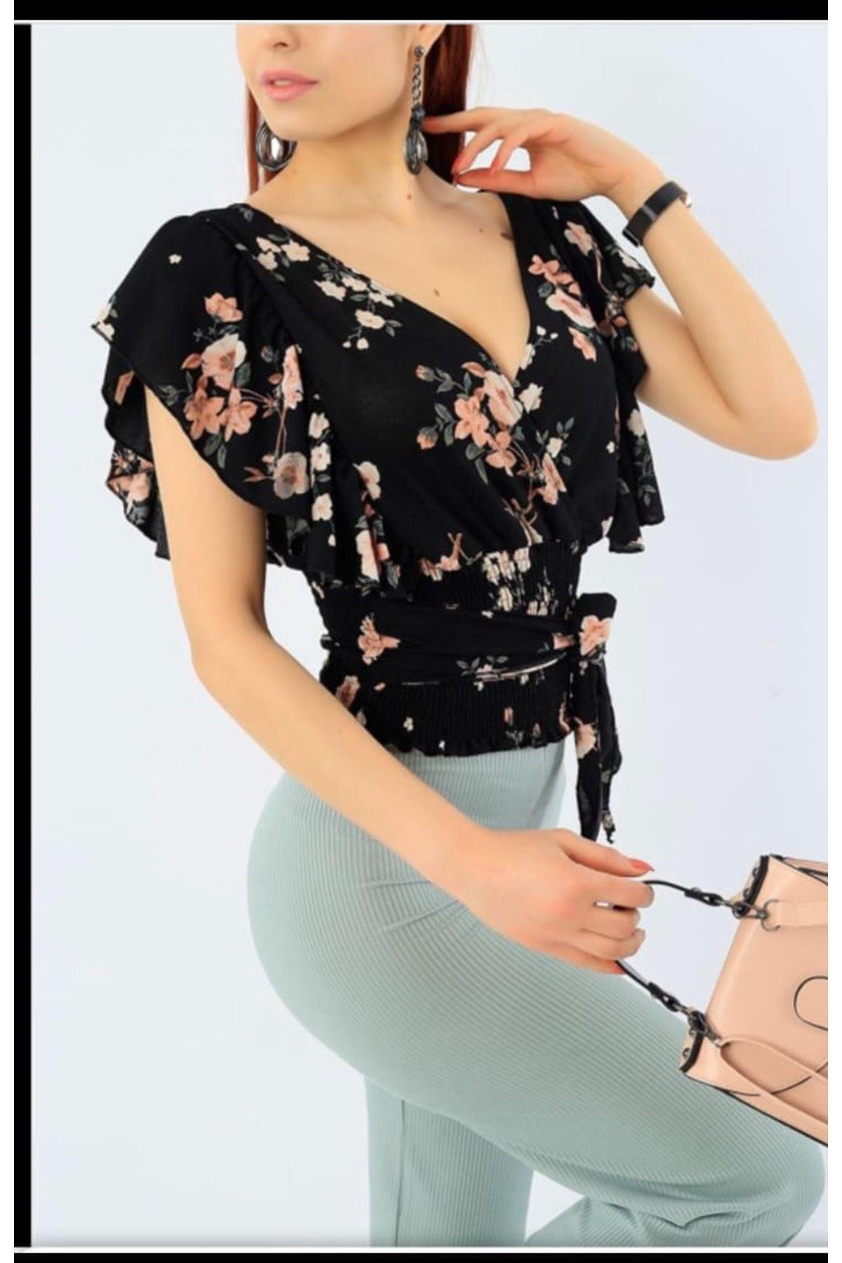 Çiçek Desen Kruvaze Bluz - Siyah