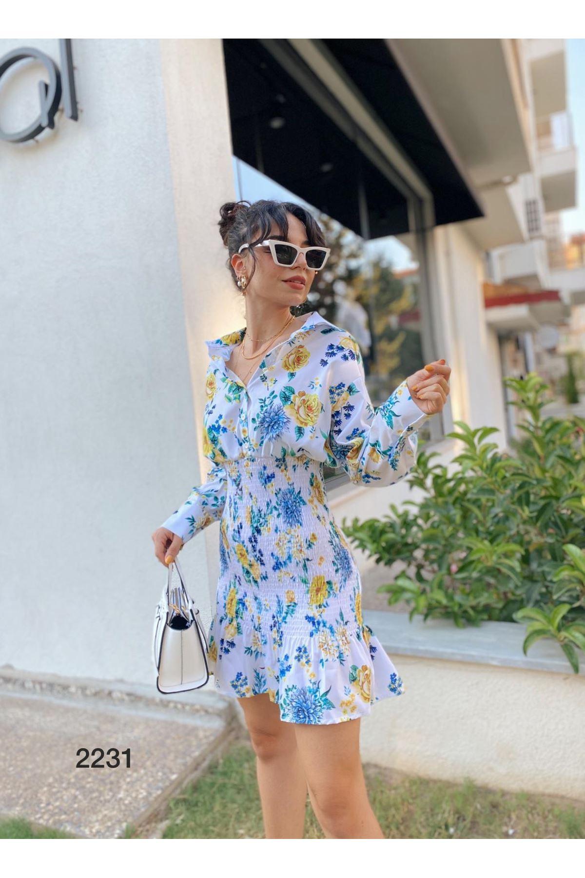 Gipeli Mini Tasarım Elbise - BEYAZ