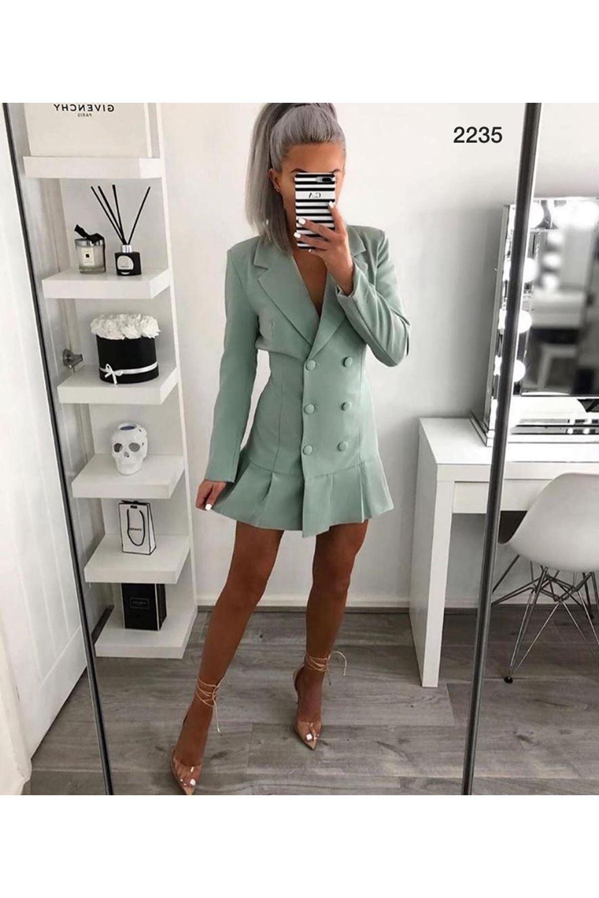Yeni Sezon Tasarım Ceket Elbise -MİNT