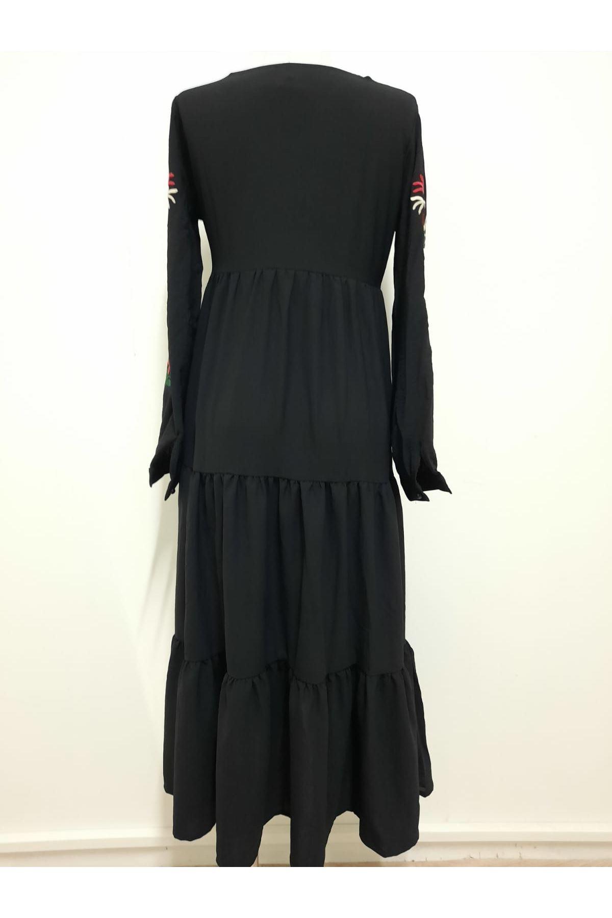 Nakışlı Ayrobin Elbise - siyah