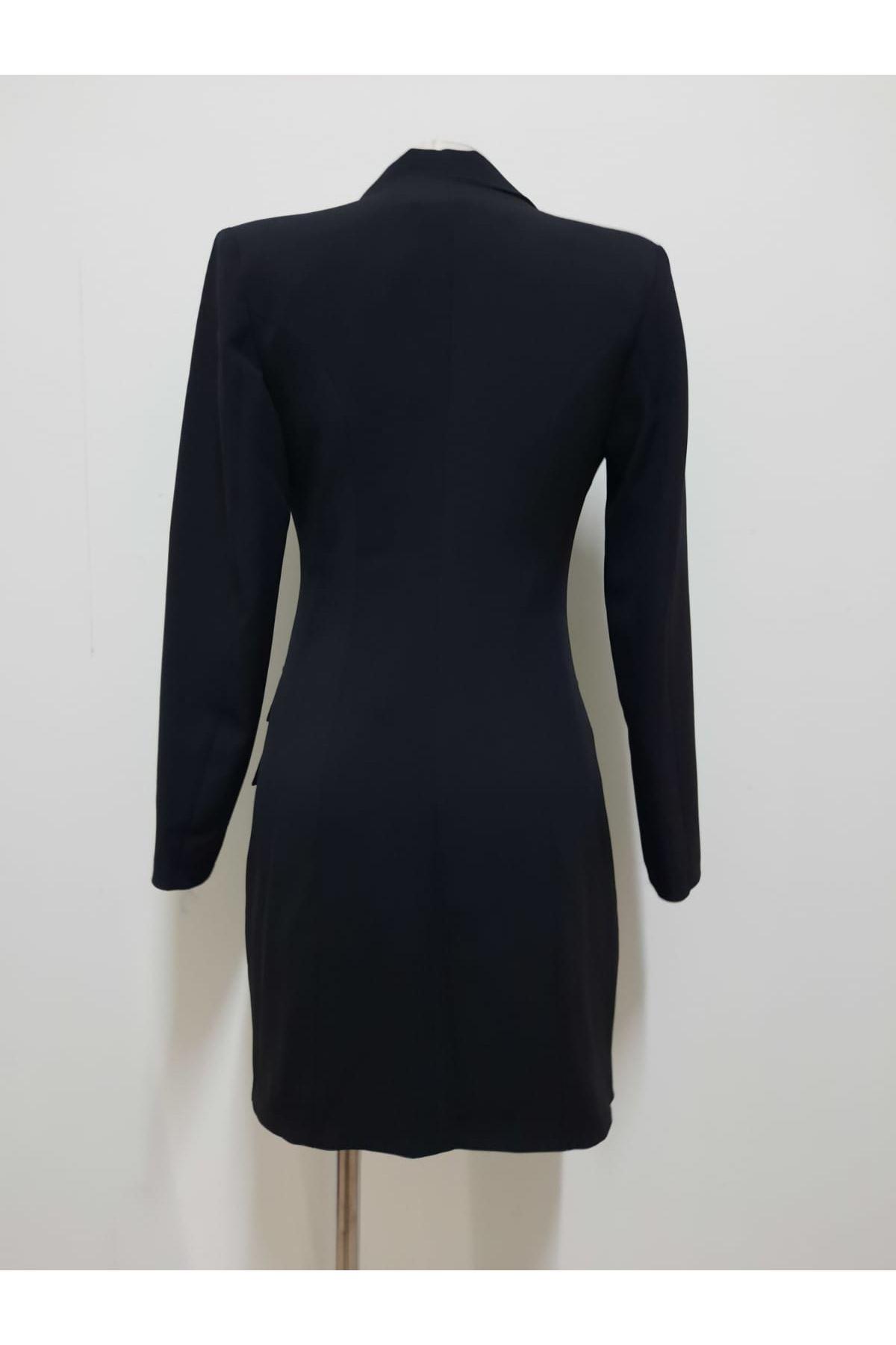 Düğmeli Ceket Elbise - SİYAH
