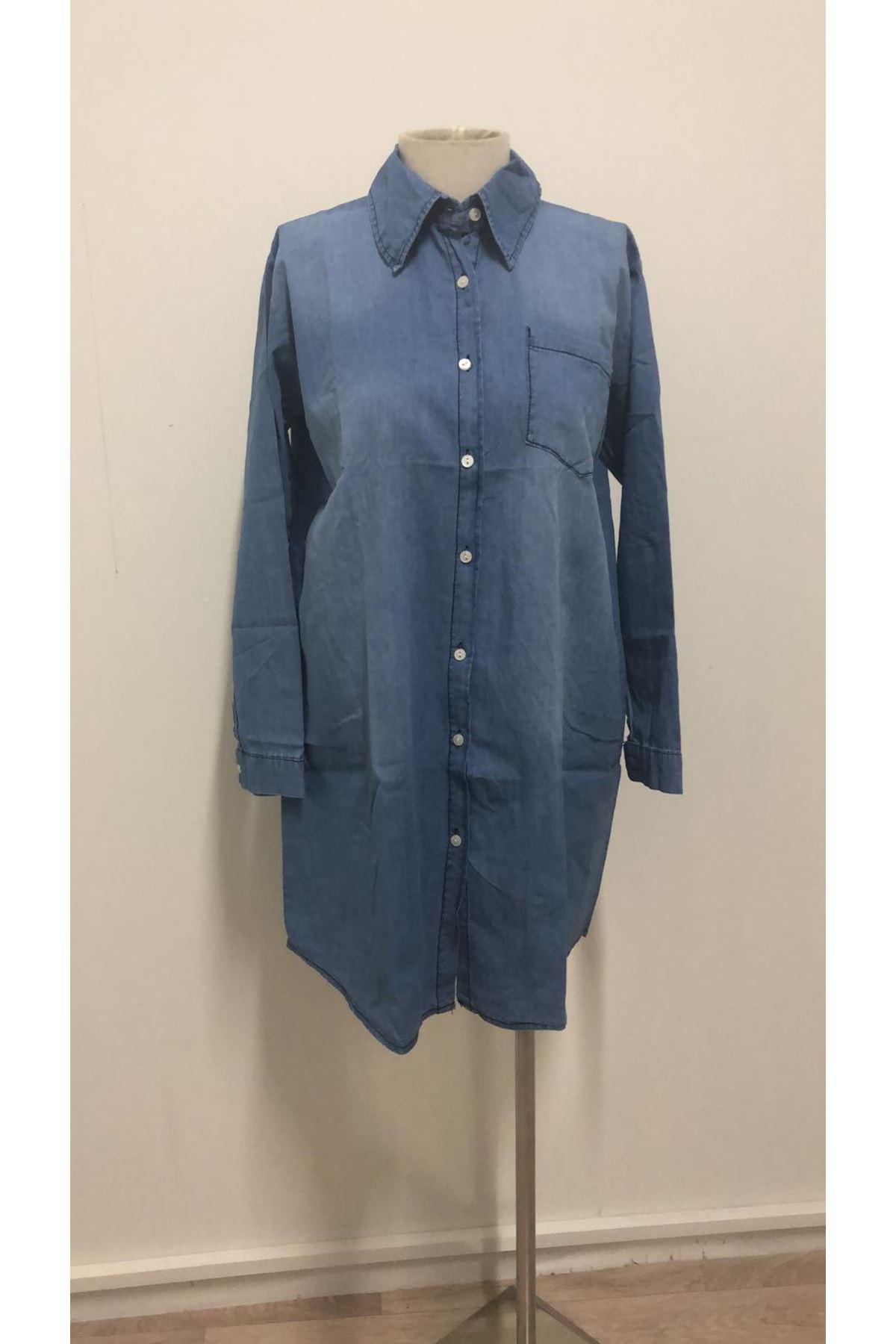 Düğmeli Kot Gömlek Elbise-MAVİ