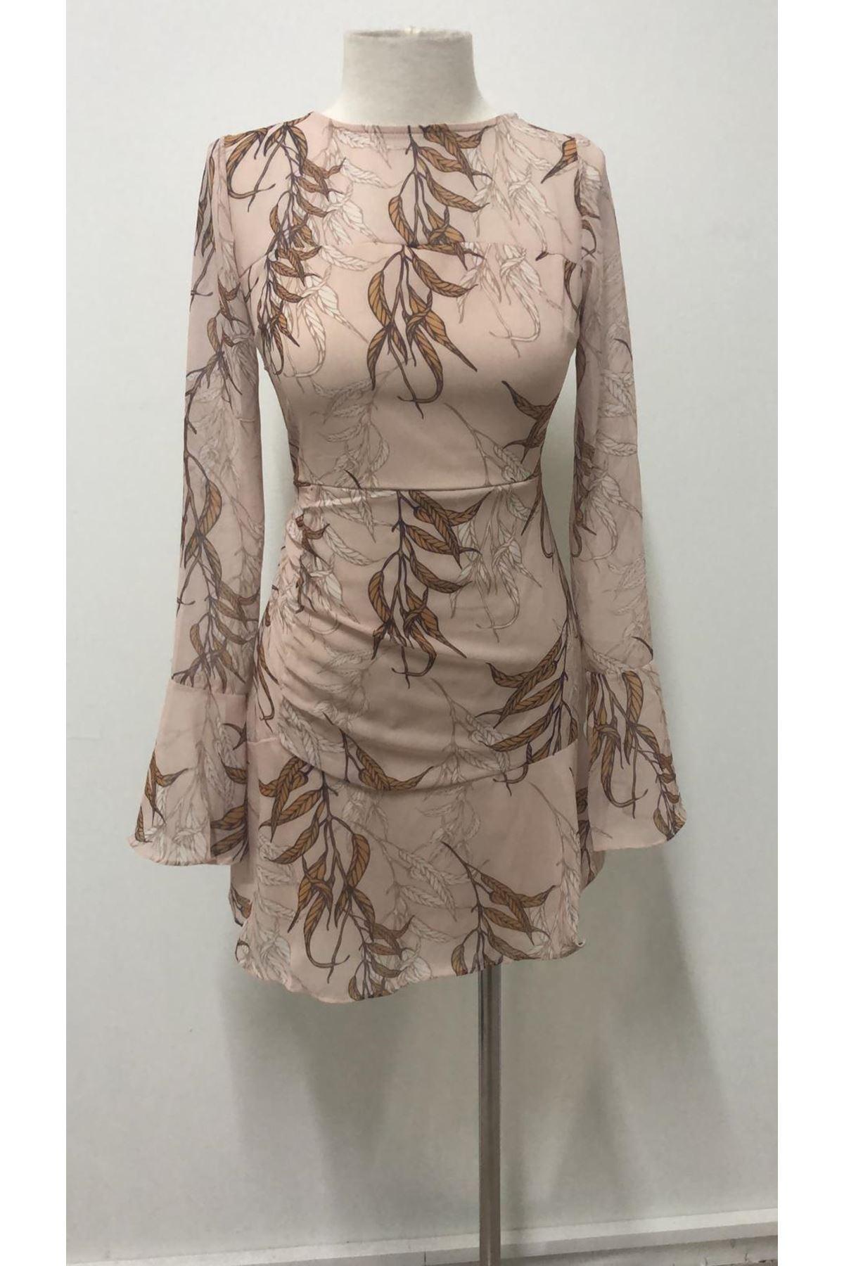 Yaprak Desen Mini Elbise - BEJ