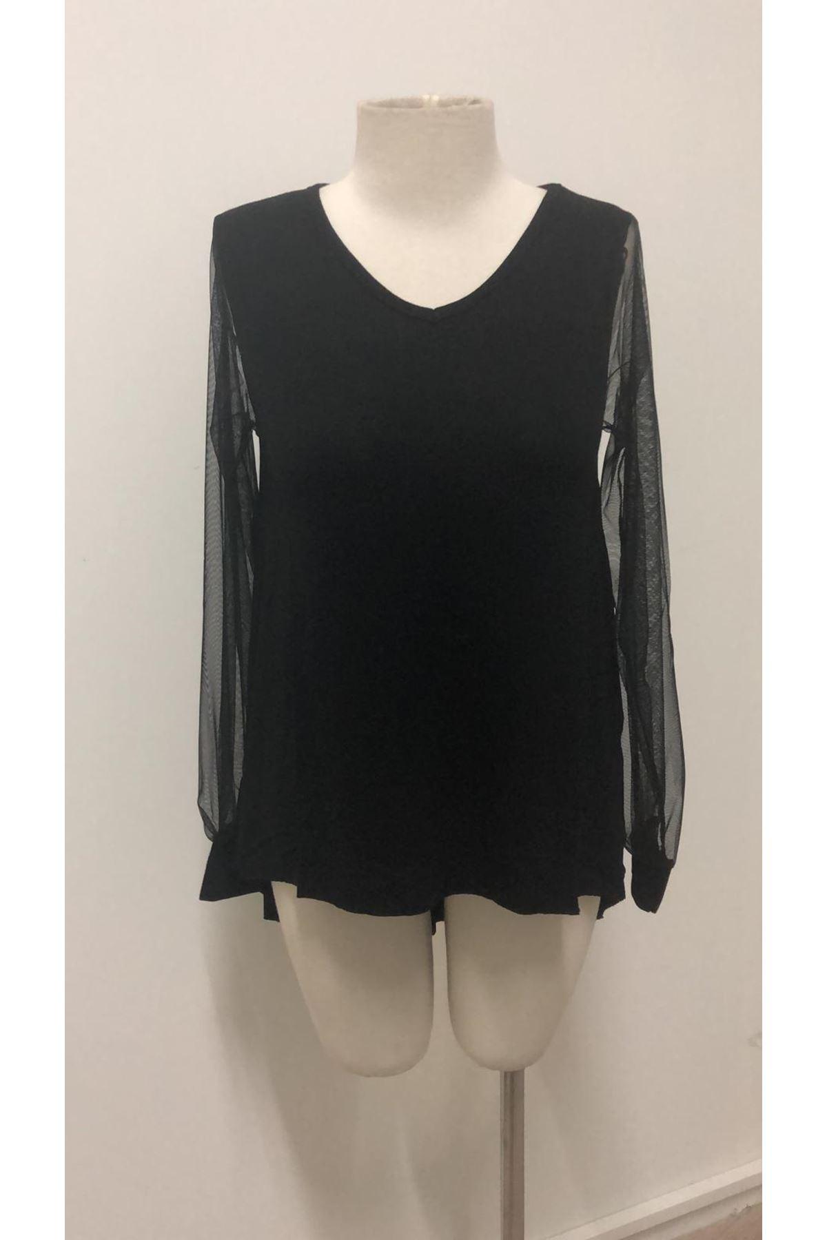 Kolları Tül Tshirt - siyah