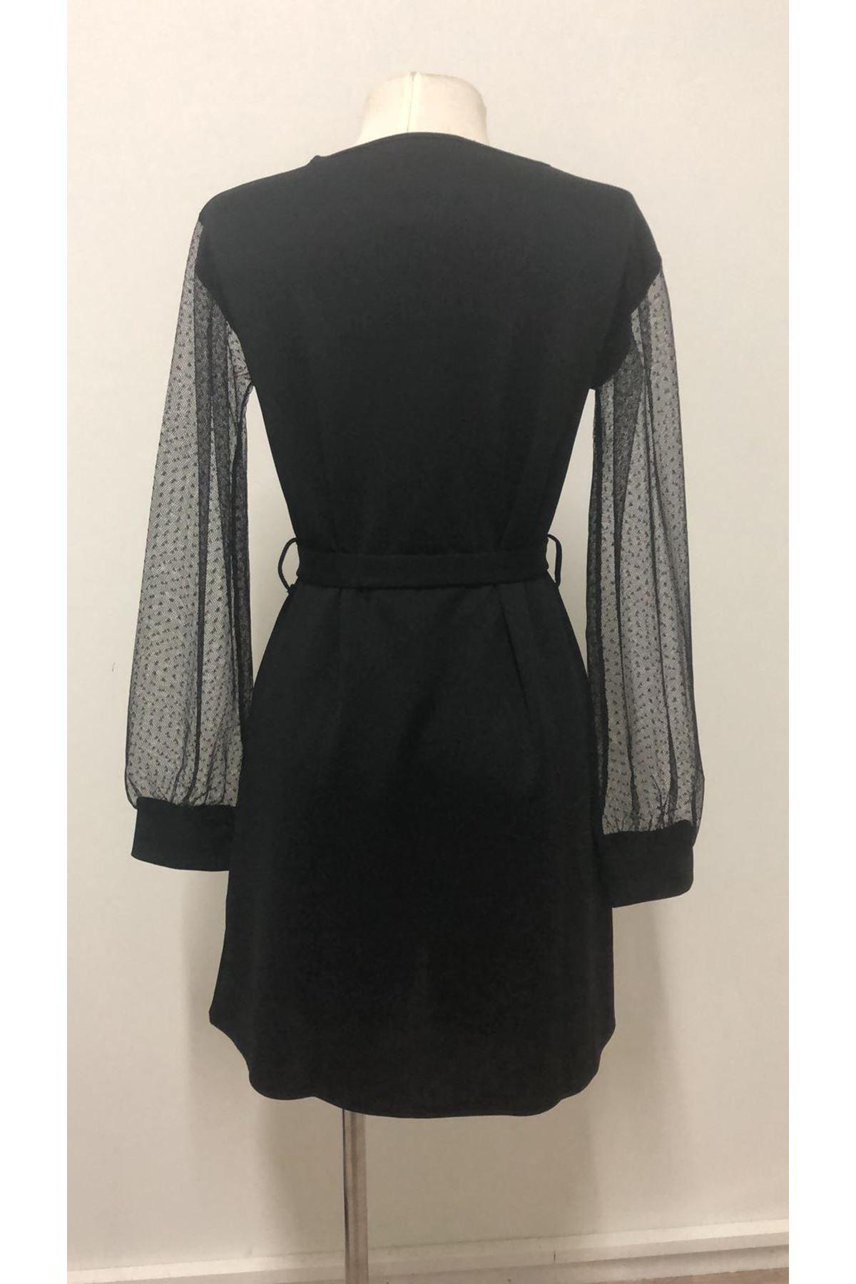 Kolları Tül Elbise - siyah