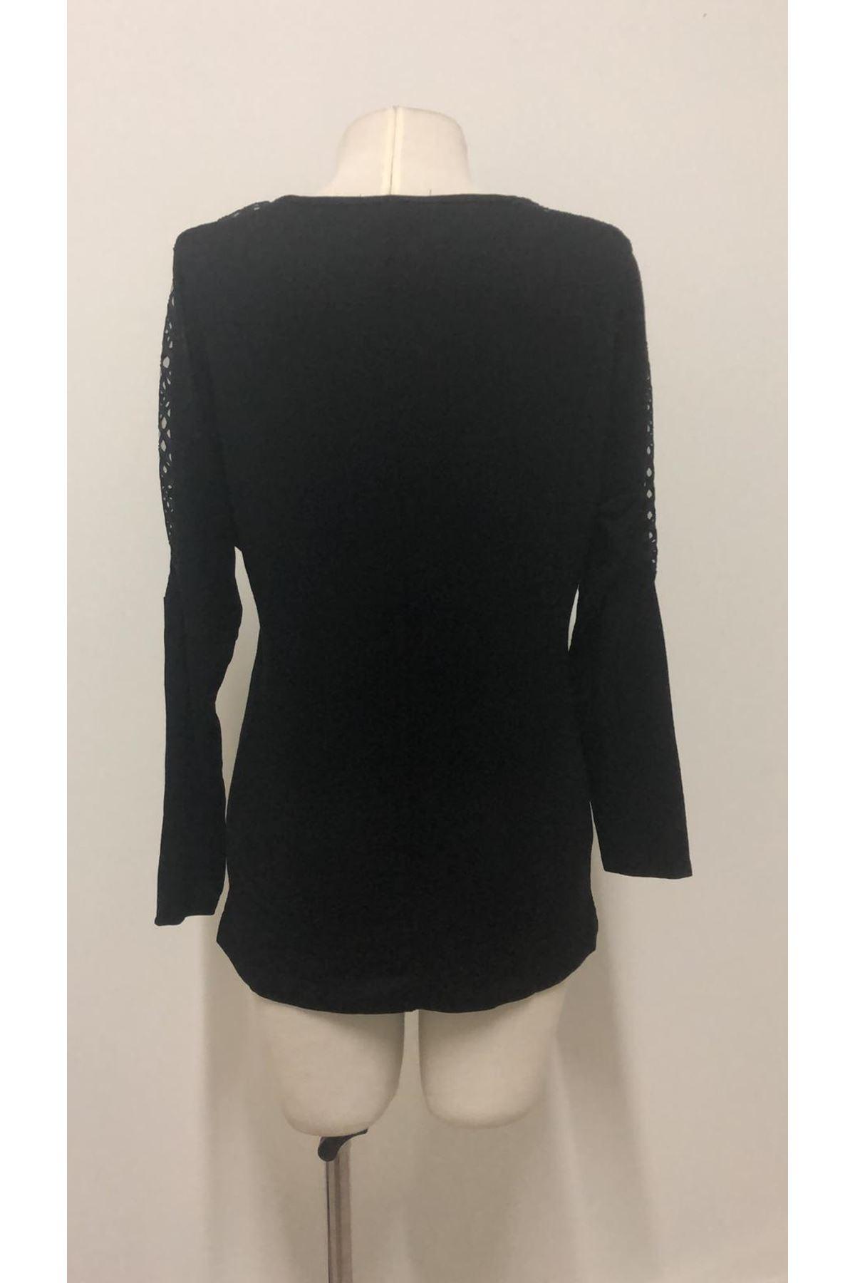 Kolları Fileli Bluz - siyah