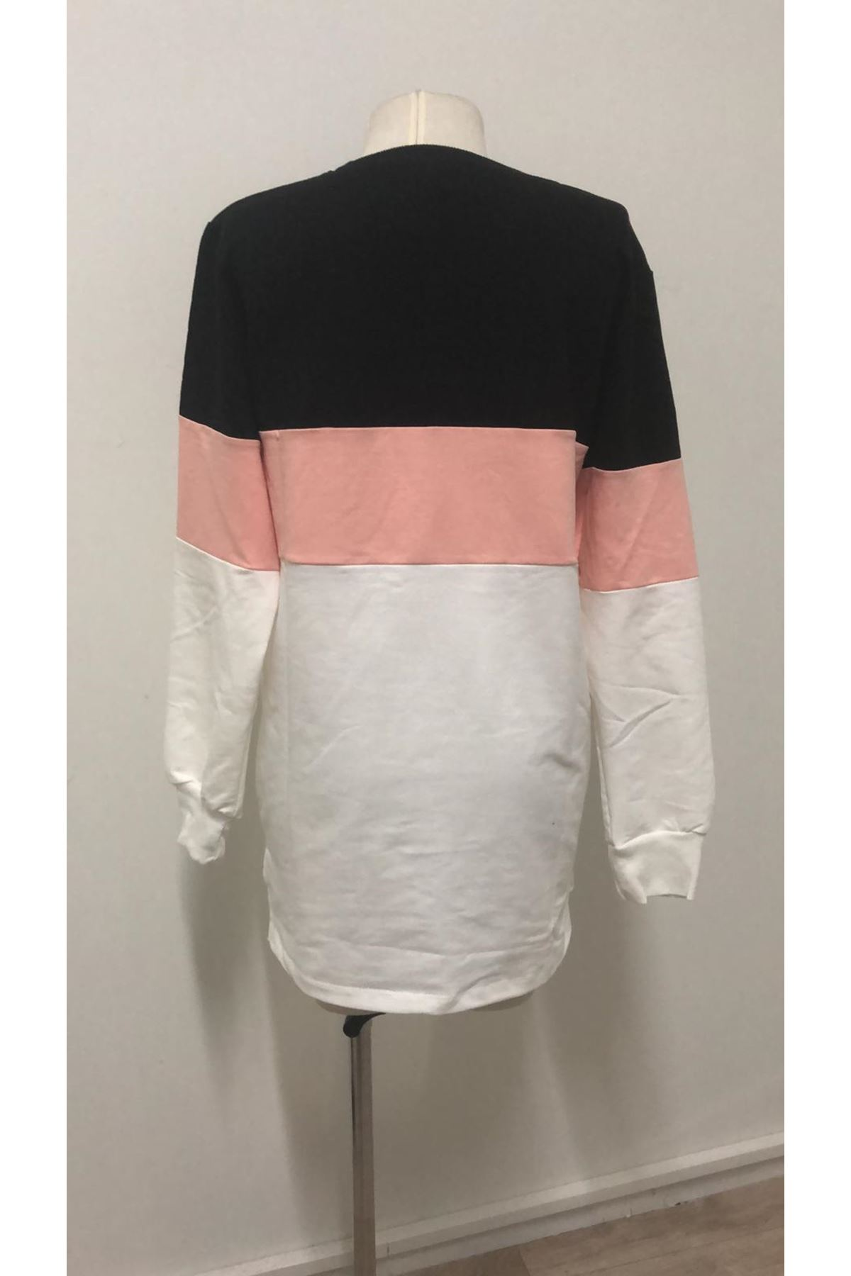 Üç Renk Sweat Elbise-PUDRA