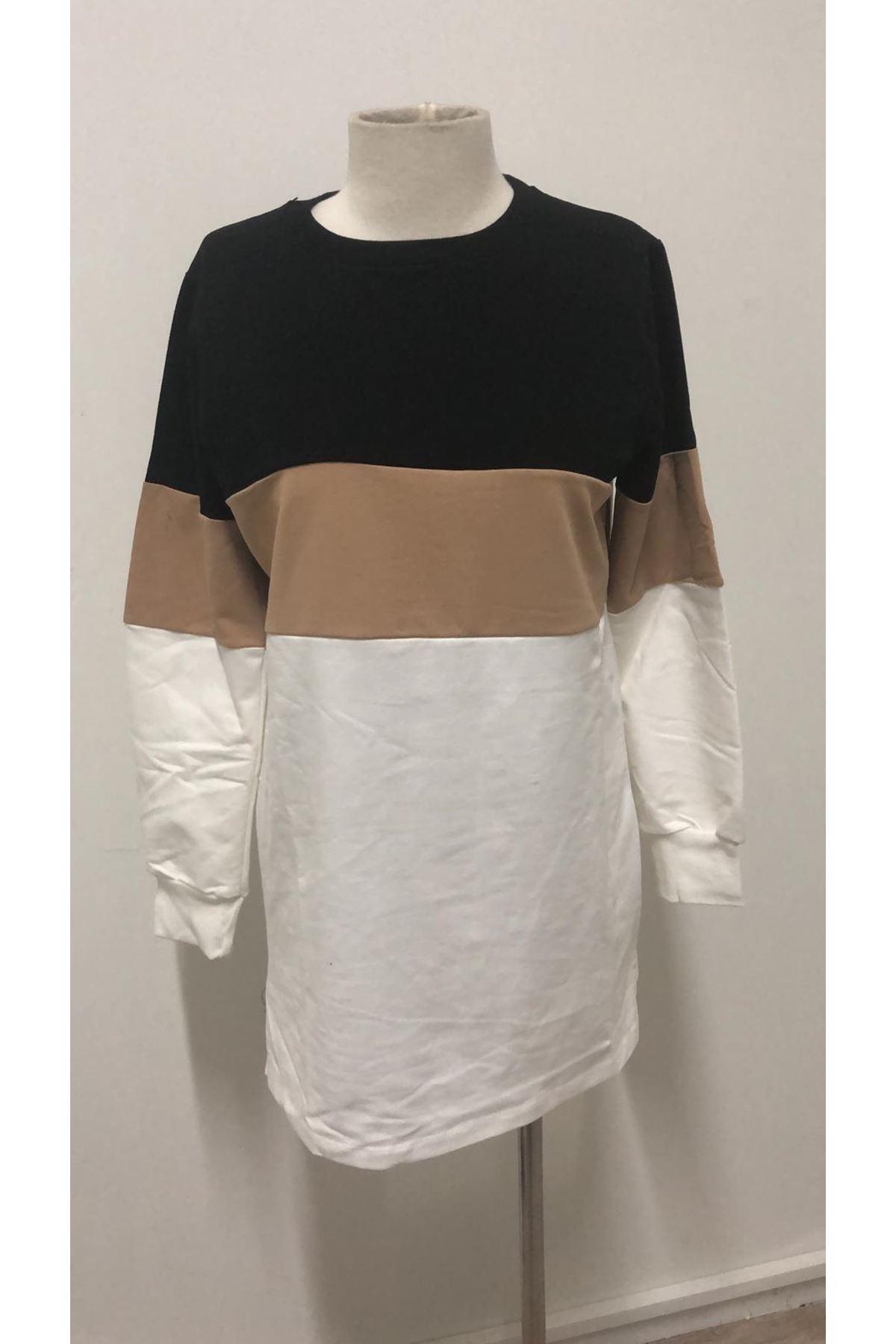 Üç Renk Sweat Elbise-BEJ