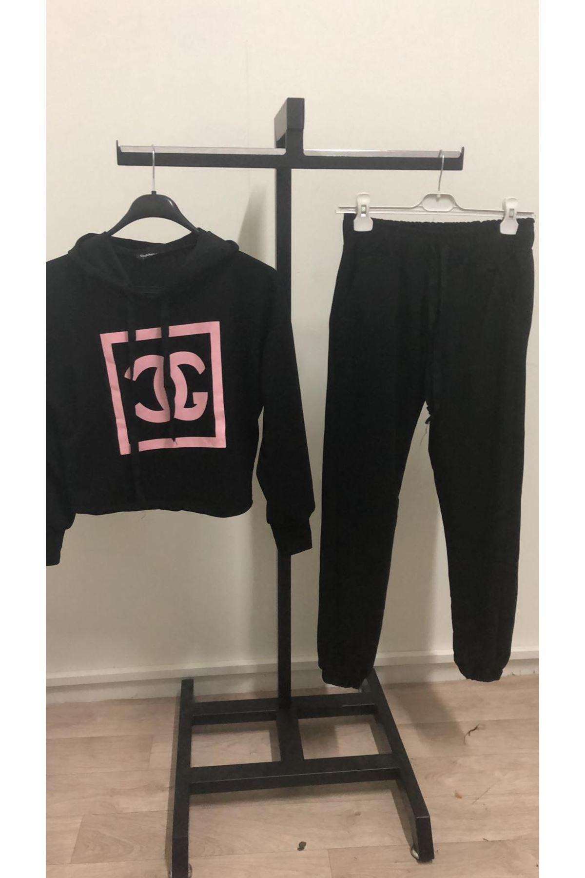 Chanel kapşonlu İkili takım-SİYAH
