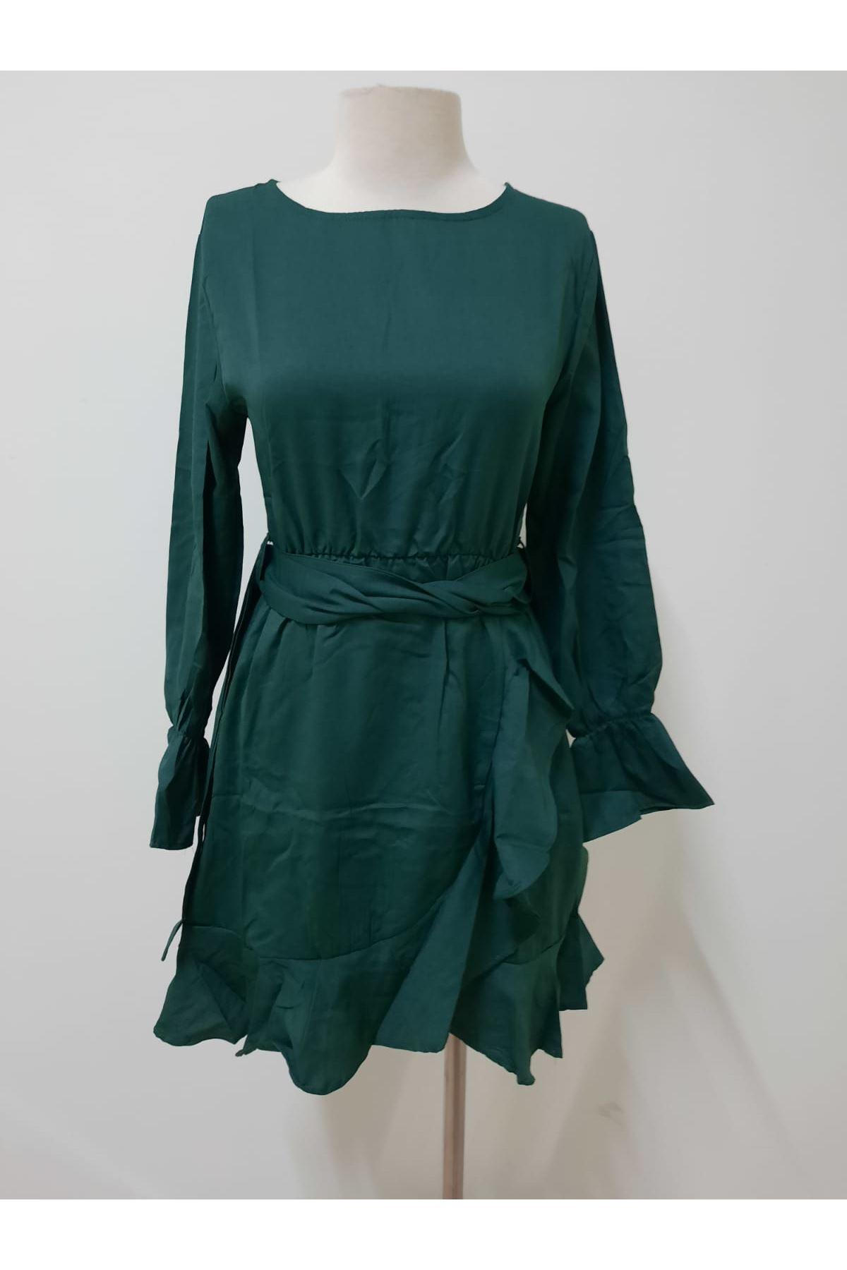 Kuşaklı Tasarım Yeşil Elbise - YEŞİL