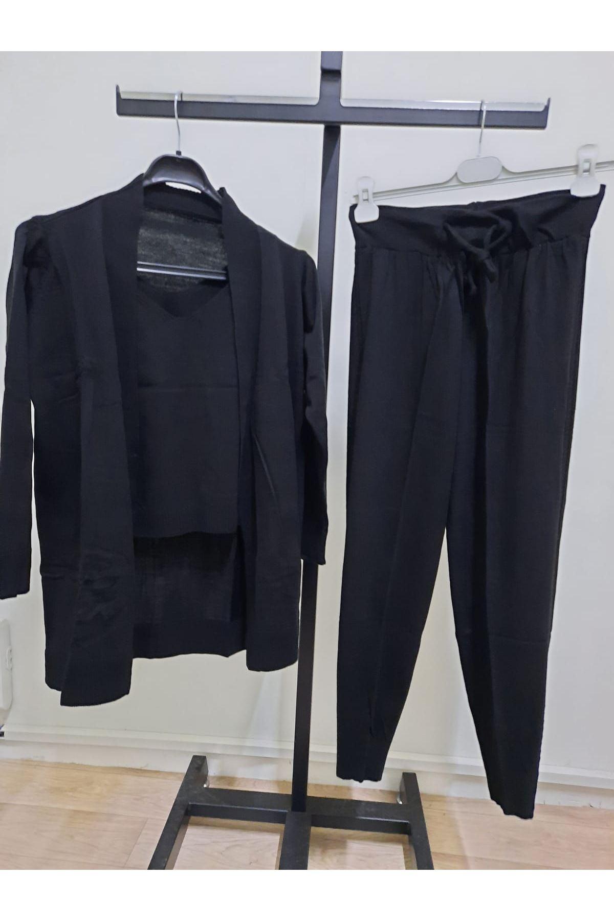 Üçlü Triko Set Takım - siyah