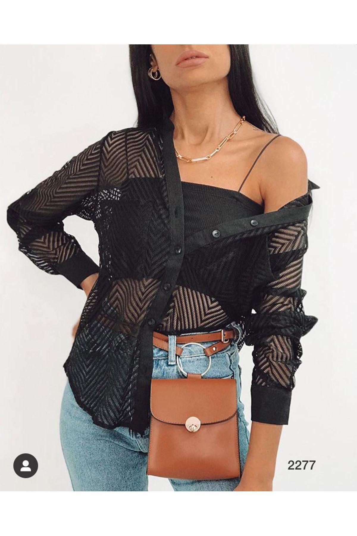 File Tasarım Gömlek - siyah