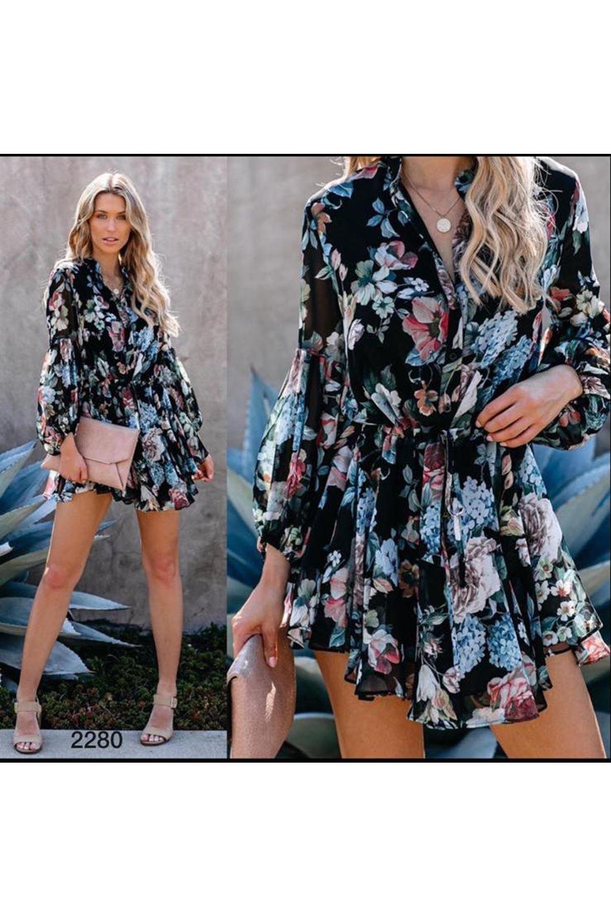 Çiçek Desen Şifon Elbise-MULTİ