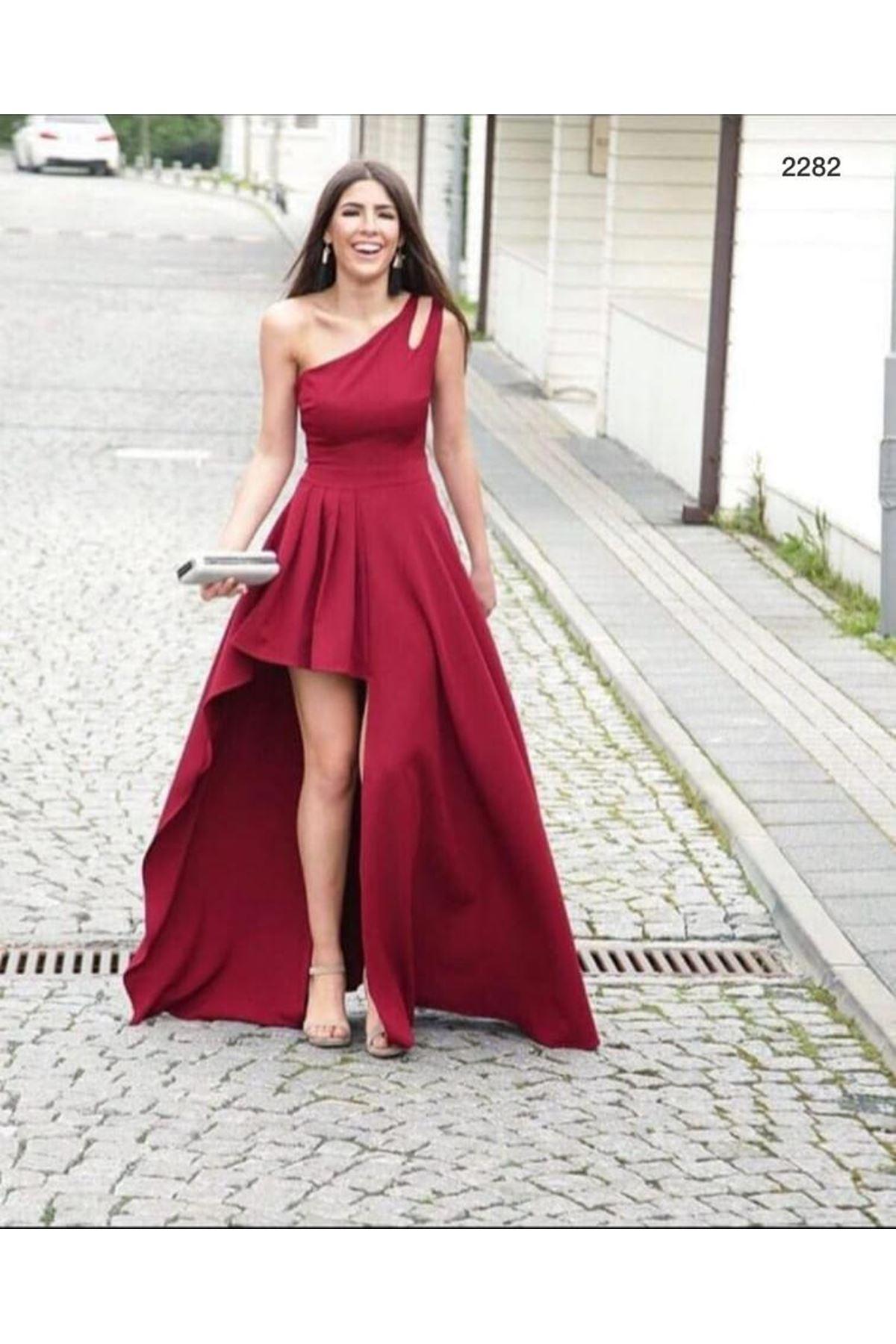 Tek Omuz Tasarım Maxi elbise - bordo